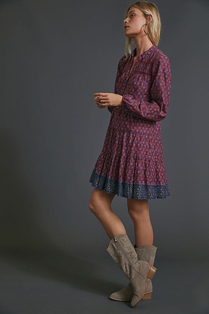 ANTHROPOLOGIE Diyana Tiered Tunic Dress