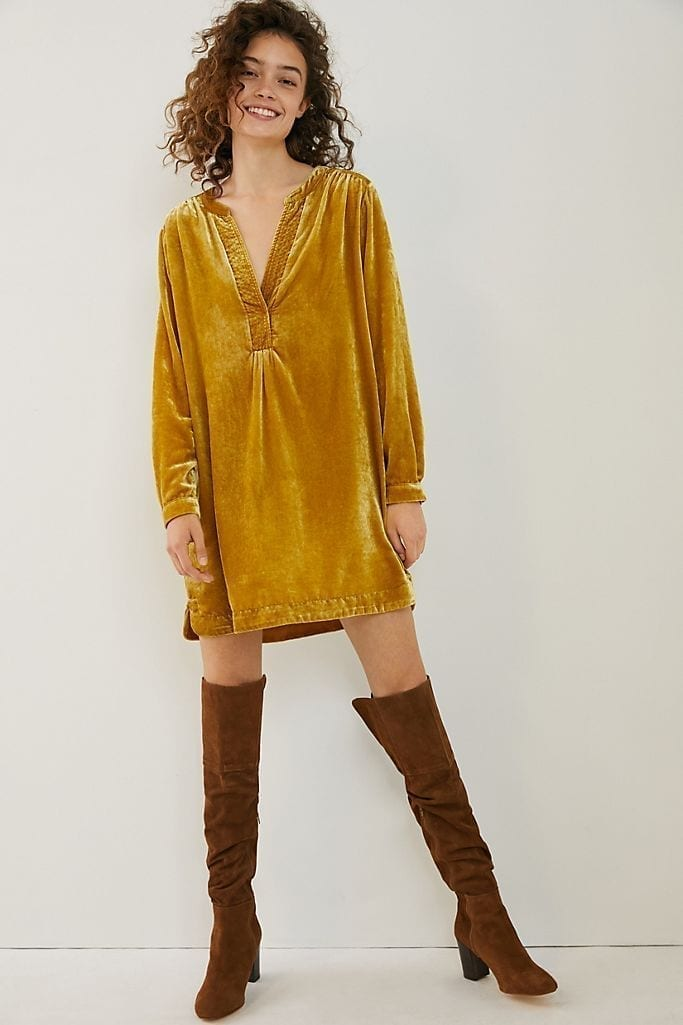 ANTHROPOLOGIE Melody Velvet Tunic Dress