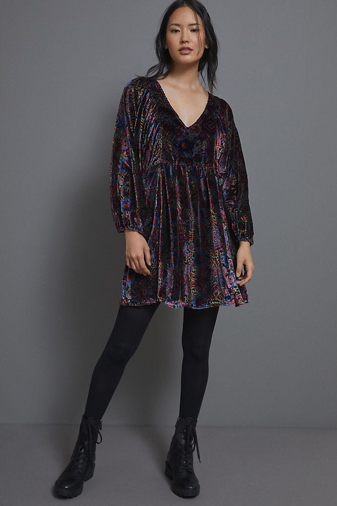 ANTHROPOLOGIE Mona Burnout Velvet Mini Dress