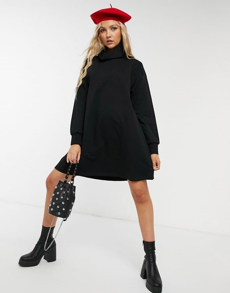 ASOS DESIGN Cowl Neck Swing Sweatshirt Dress