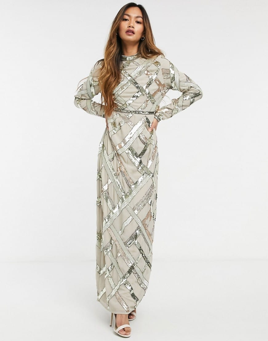 ASOS DESIGN Lattice Embellished Maxi Dress