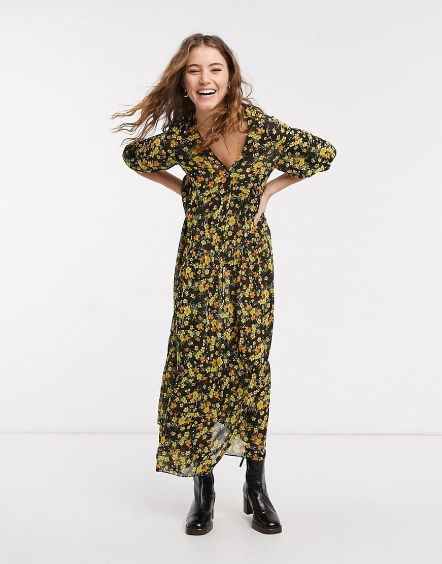ASOS DESIGN Oversized Midi Smock Dress
