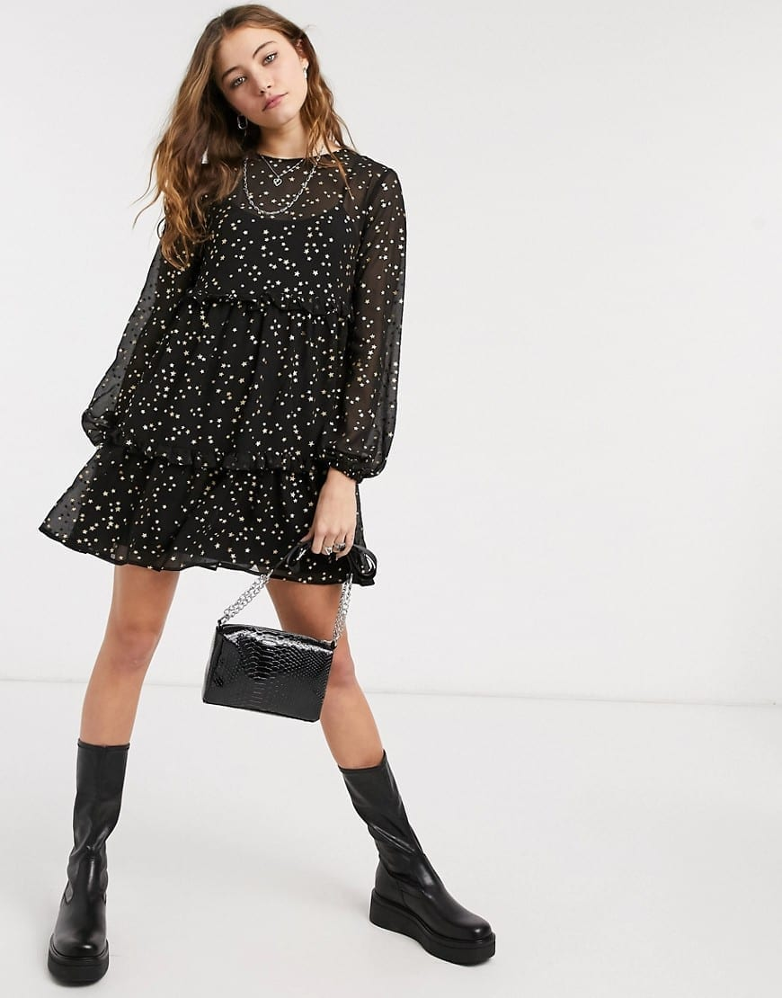 ASOS DESIGN Tiered Mini Smock Dress