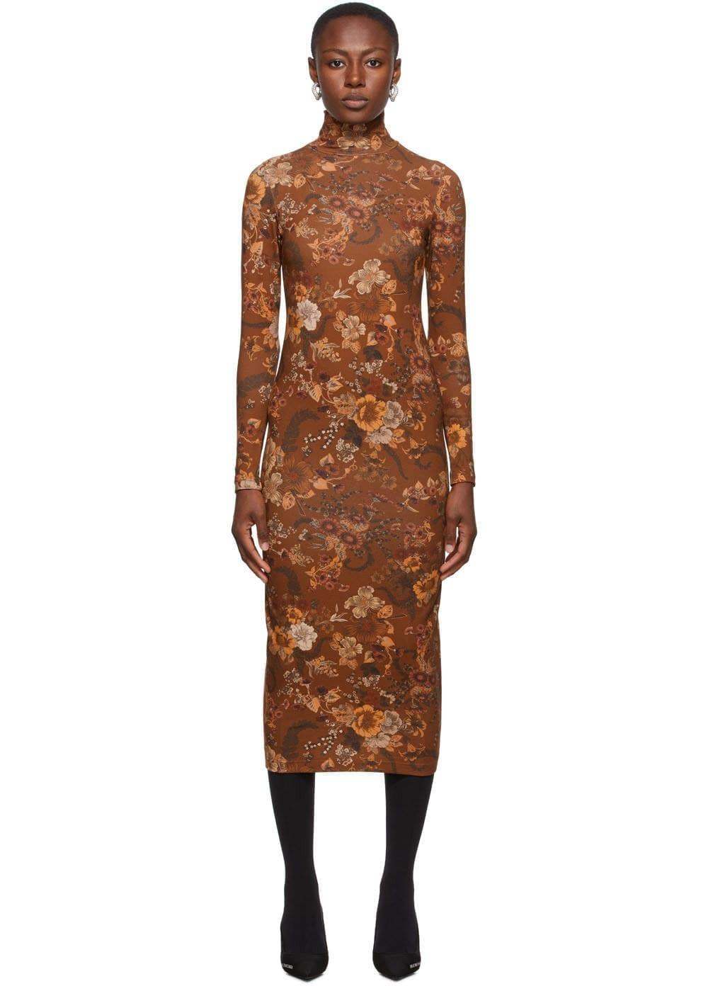 BALENCIAGA Brown Floral Print Dress