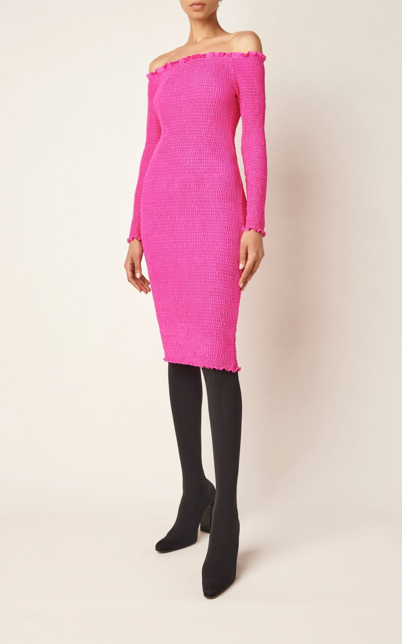 BALENCIAGA Smocked Jersey Dress