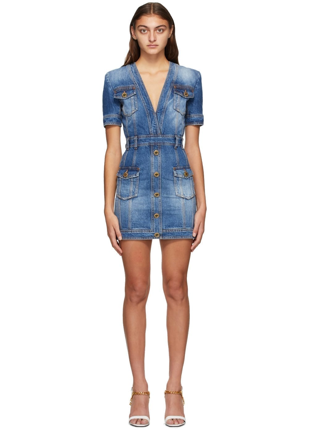 BALMAIN Blue Denim Vintage V-Neck Dress