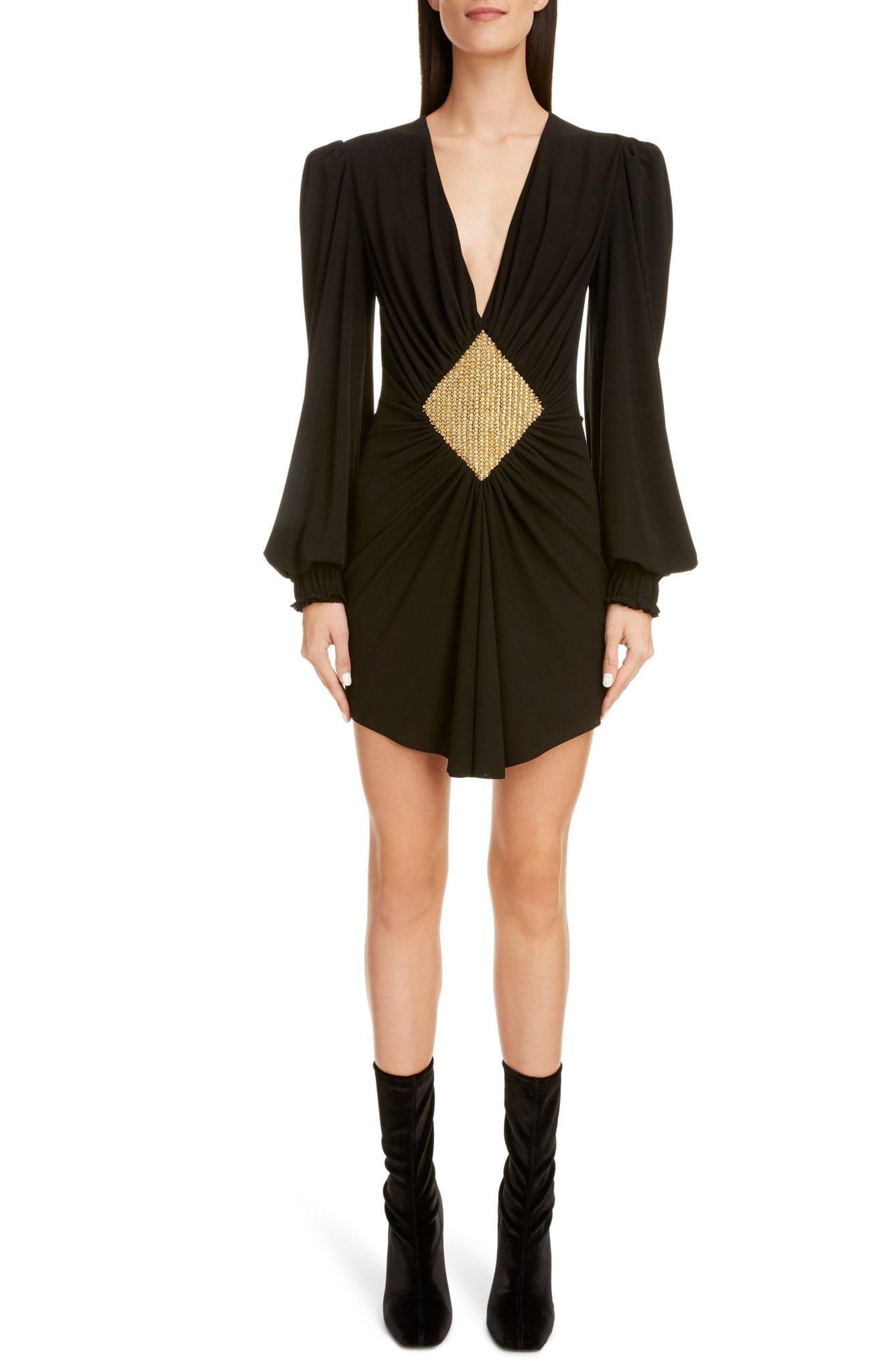BALMAIN Embellished Plunge Neck Long Sleeve Mini Dress