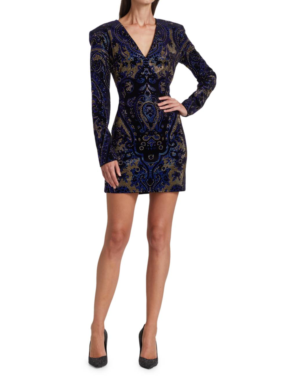 BALMAIN Jeweled Velvet Sheath Dress