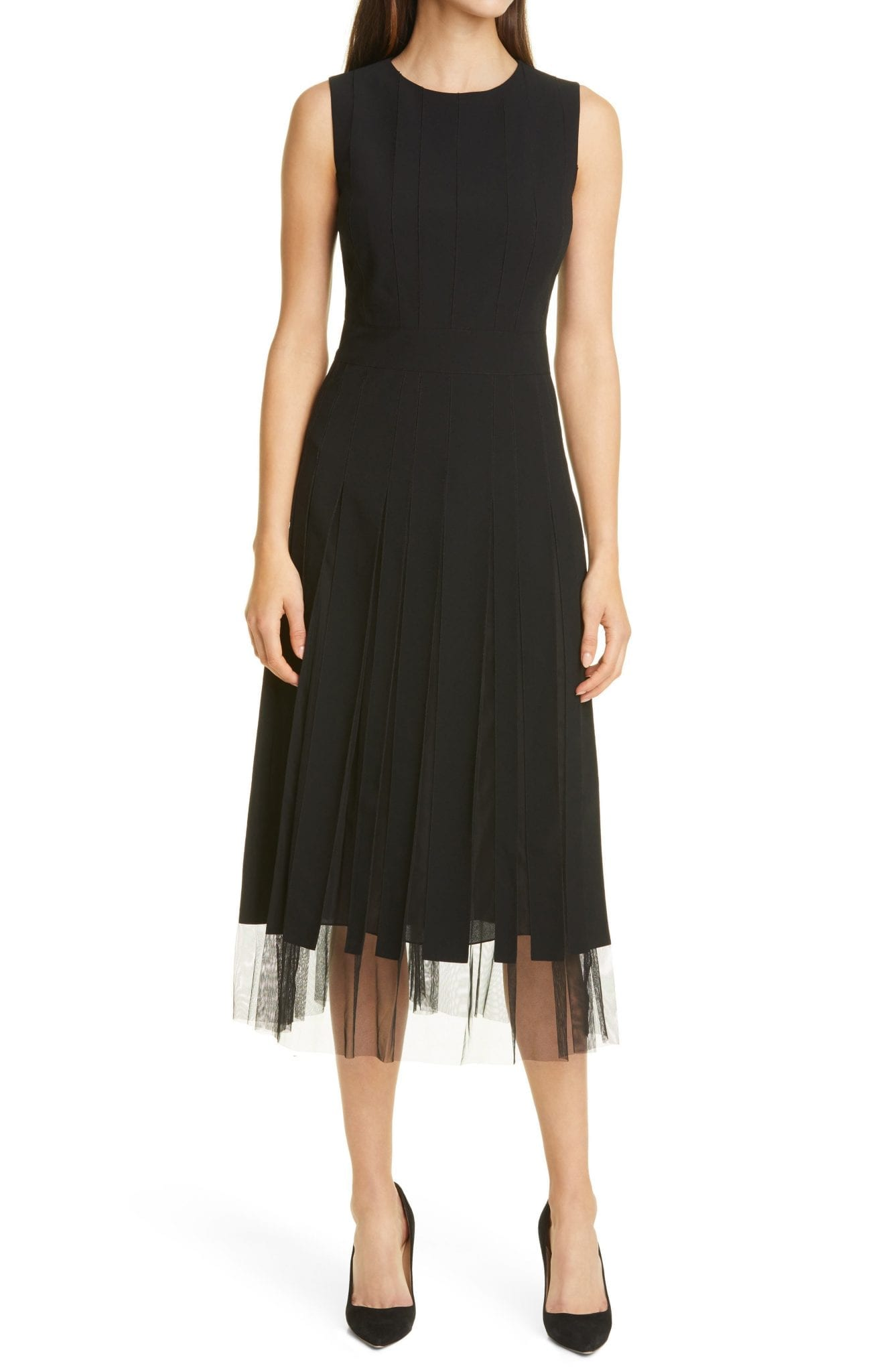 BOSS Divoby Pleated Mesh Fit & Flare Dress