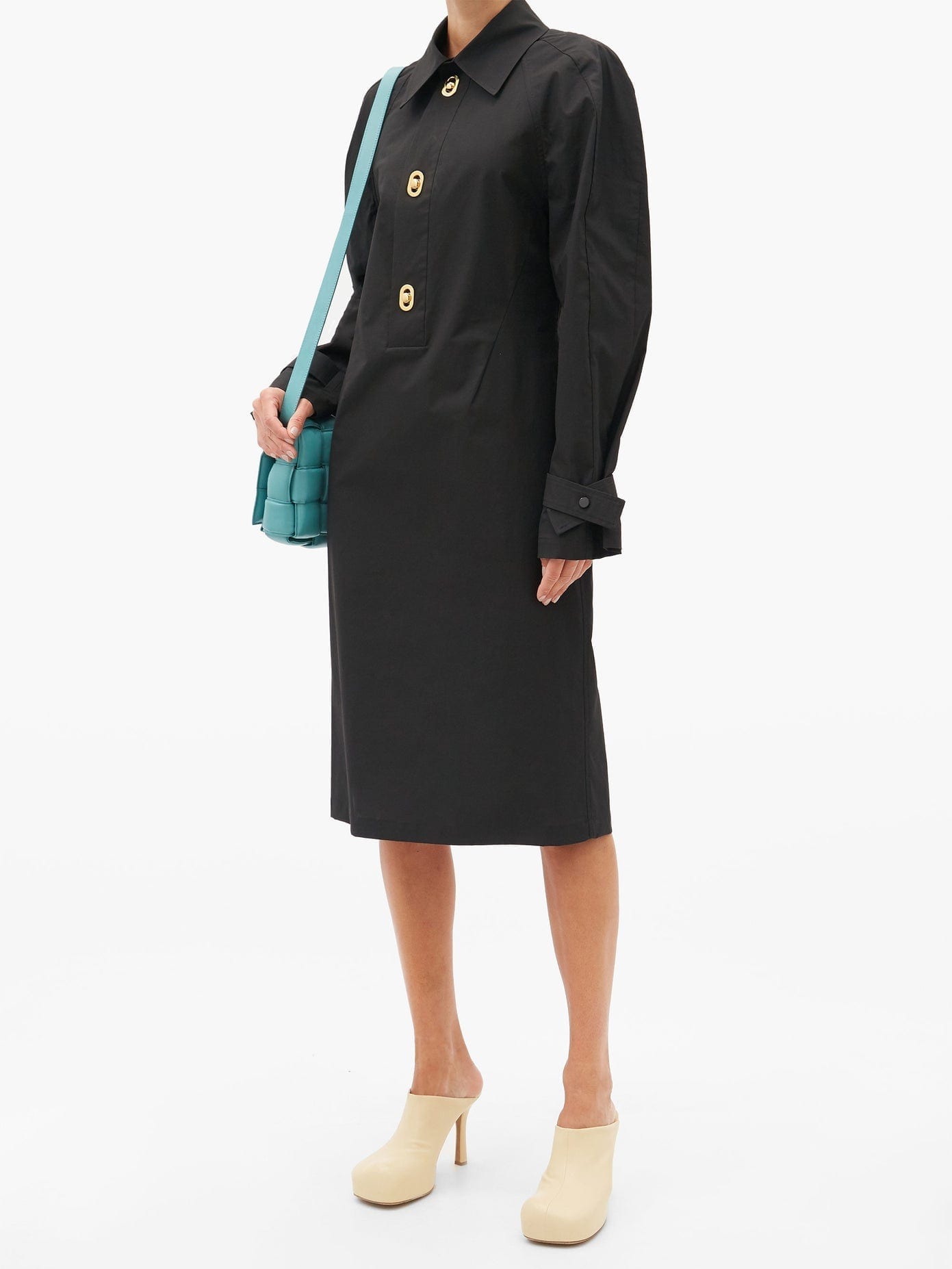 BOTTEGA VENETA Half-placket Coated-canvas Midi Dress