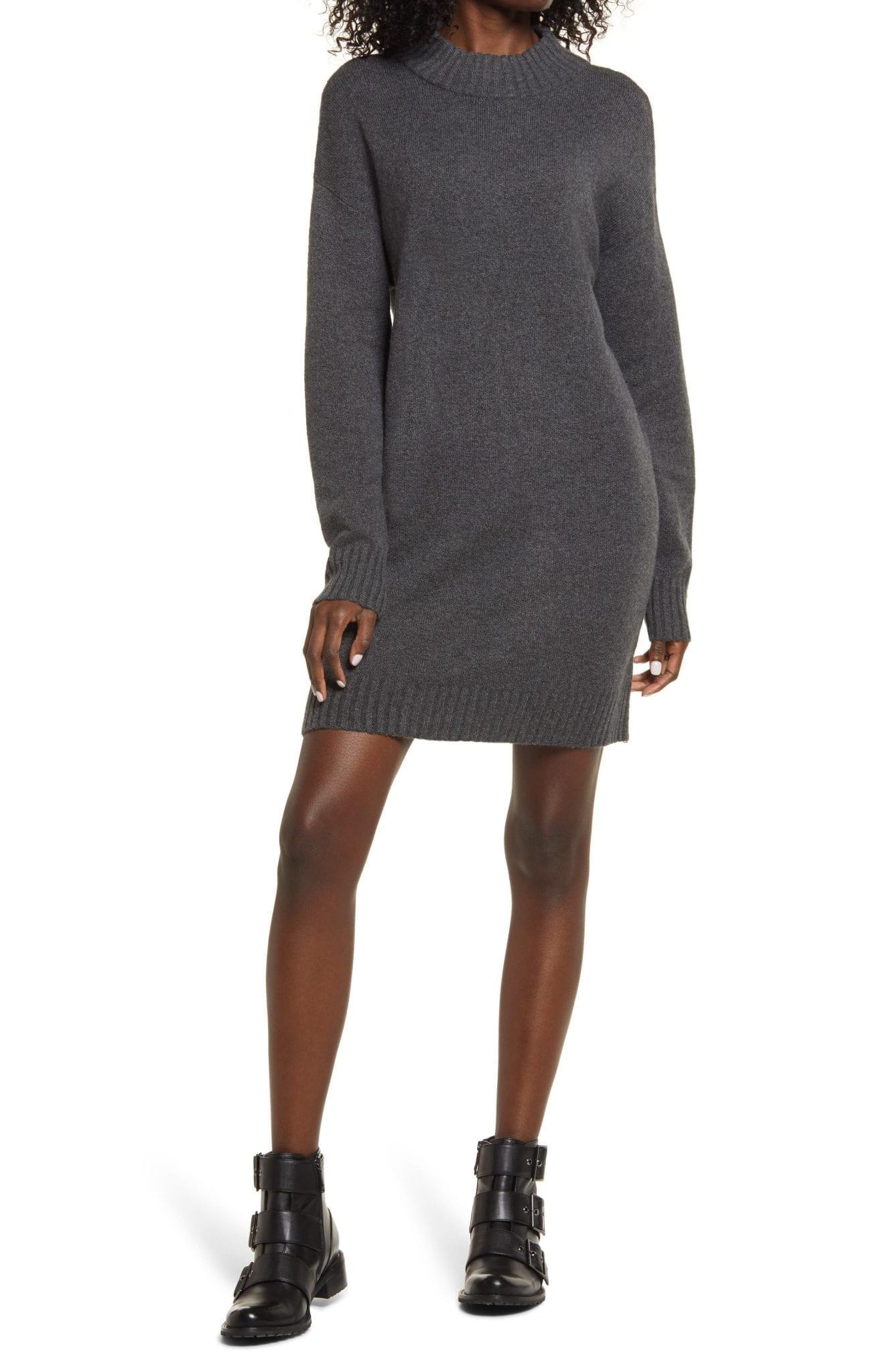 BP. Easy Crewneck Long Sleeve Sweater Dress