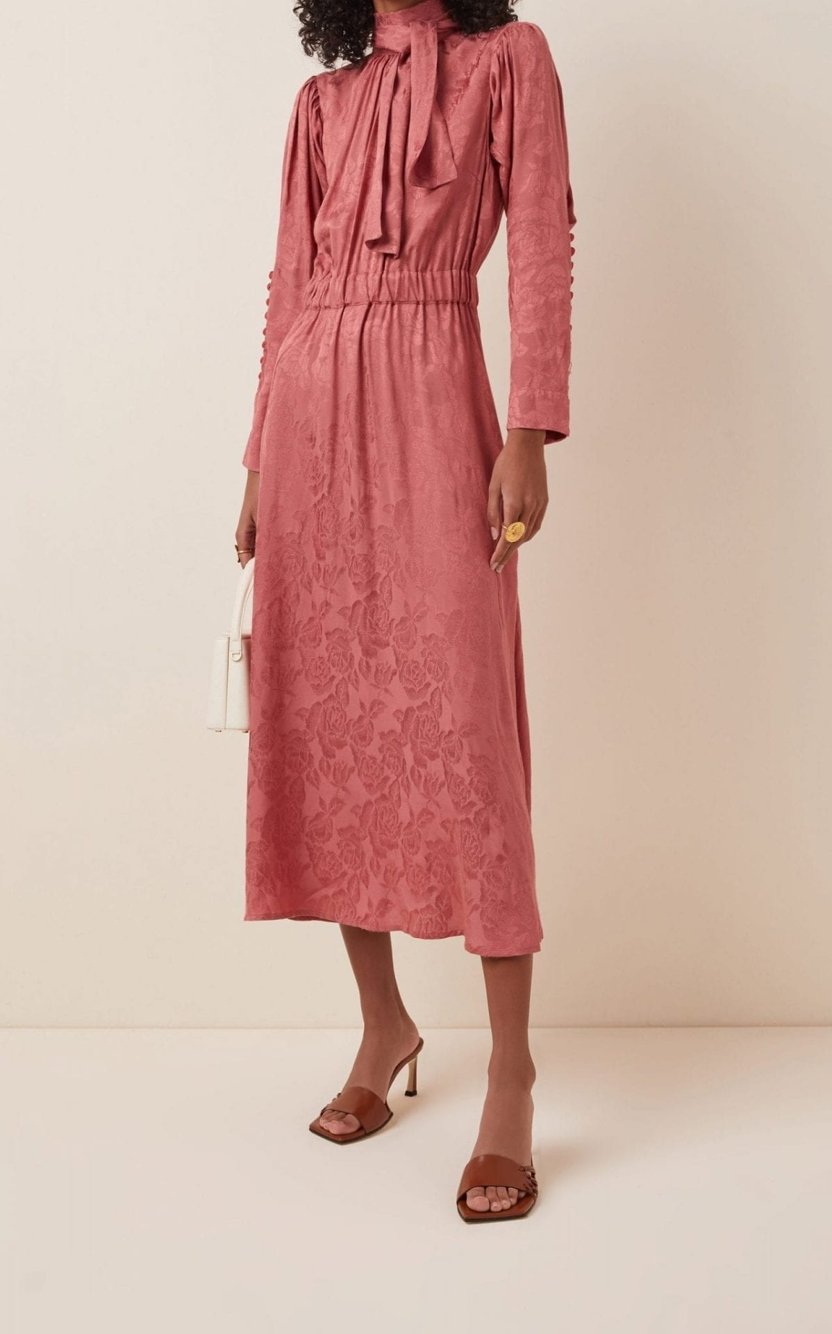 BYTIMO Floral-Jacquard Midi Dress