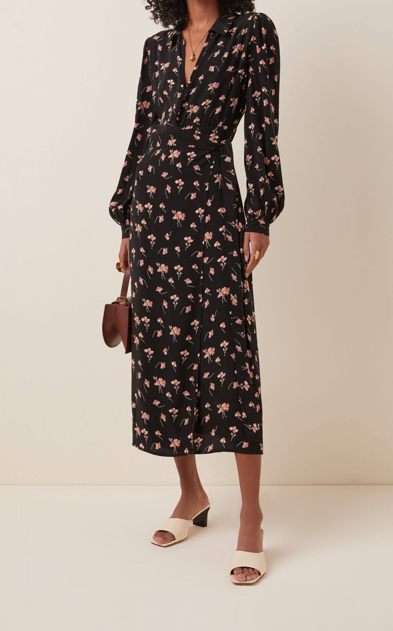 BYTIMO Floral-Printed Crepe de Chine Wrap Dress