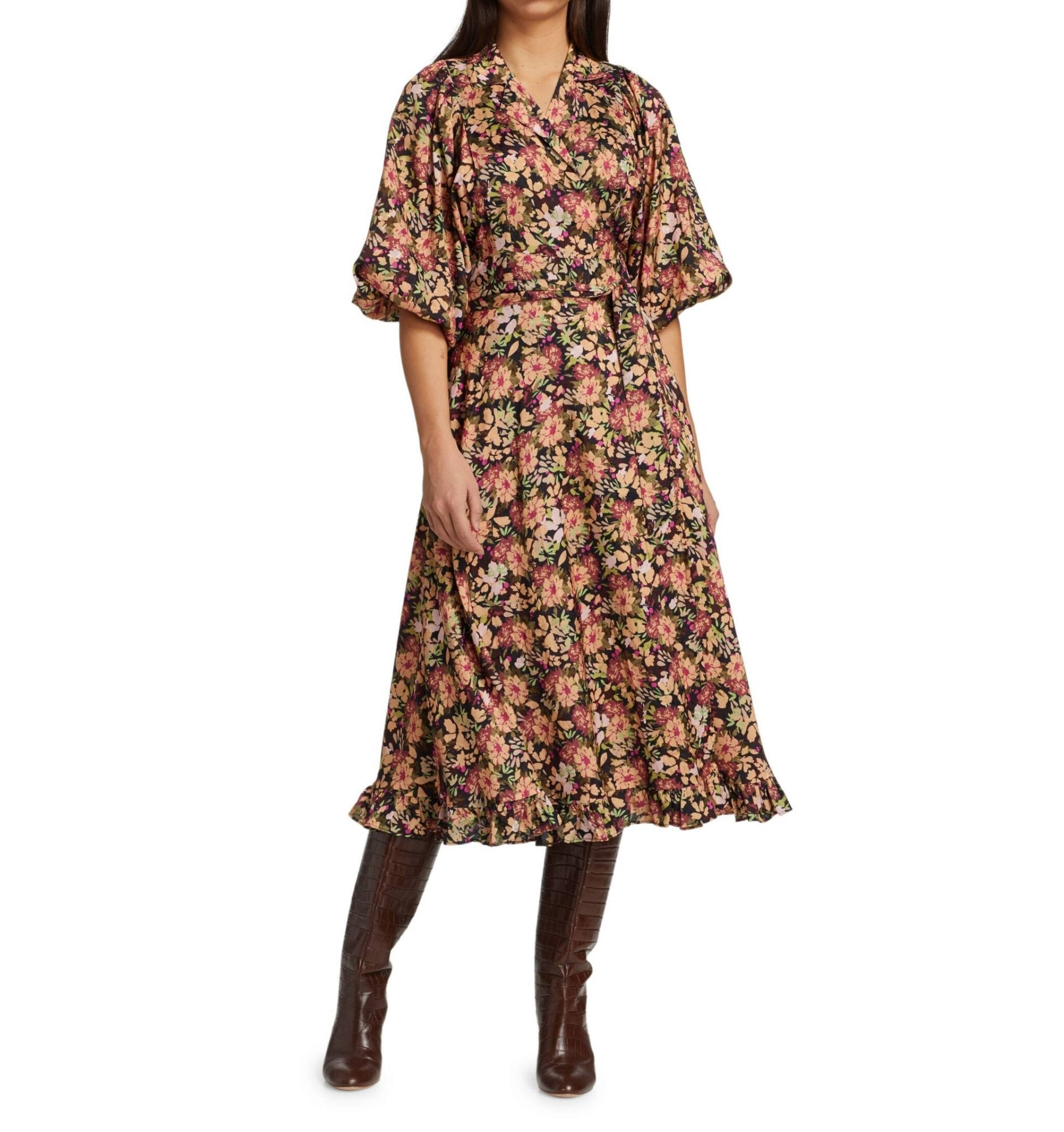 BYTIMO Floral Wrap Midi Dress