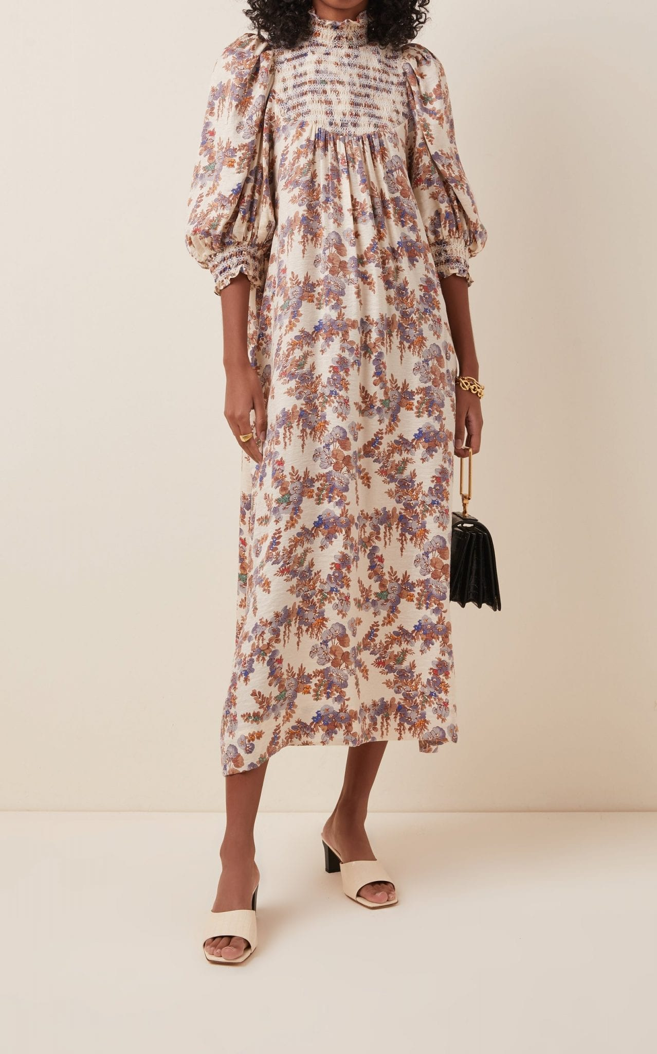 BYTIMO Smocked Poplin Midi Dress