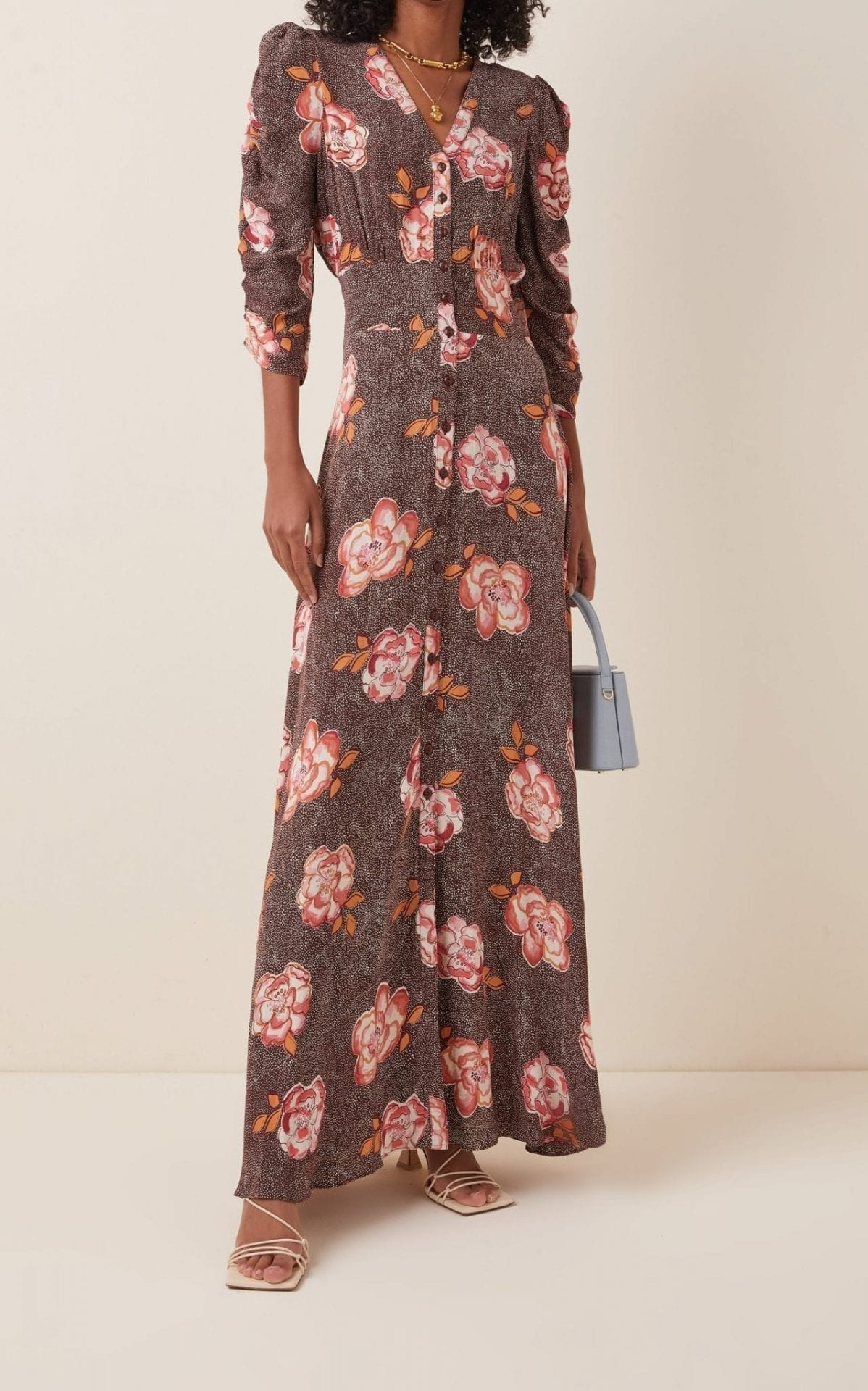 BYTIMO Spring Printed Crepe Maxi Dress
