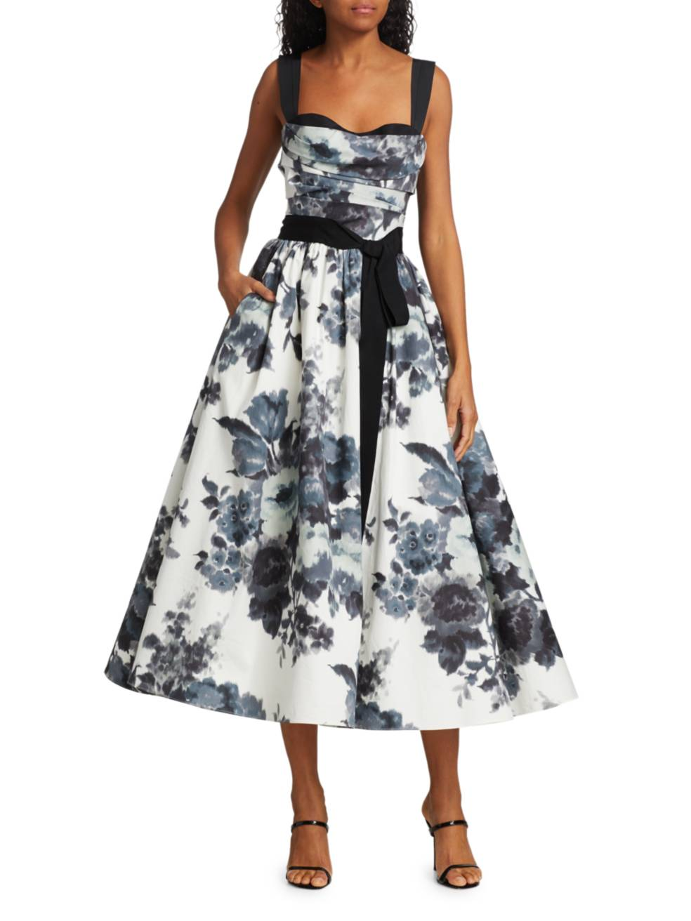 CAROLINA HERRERA Floral Bow A-Line Cocktail Dress