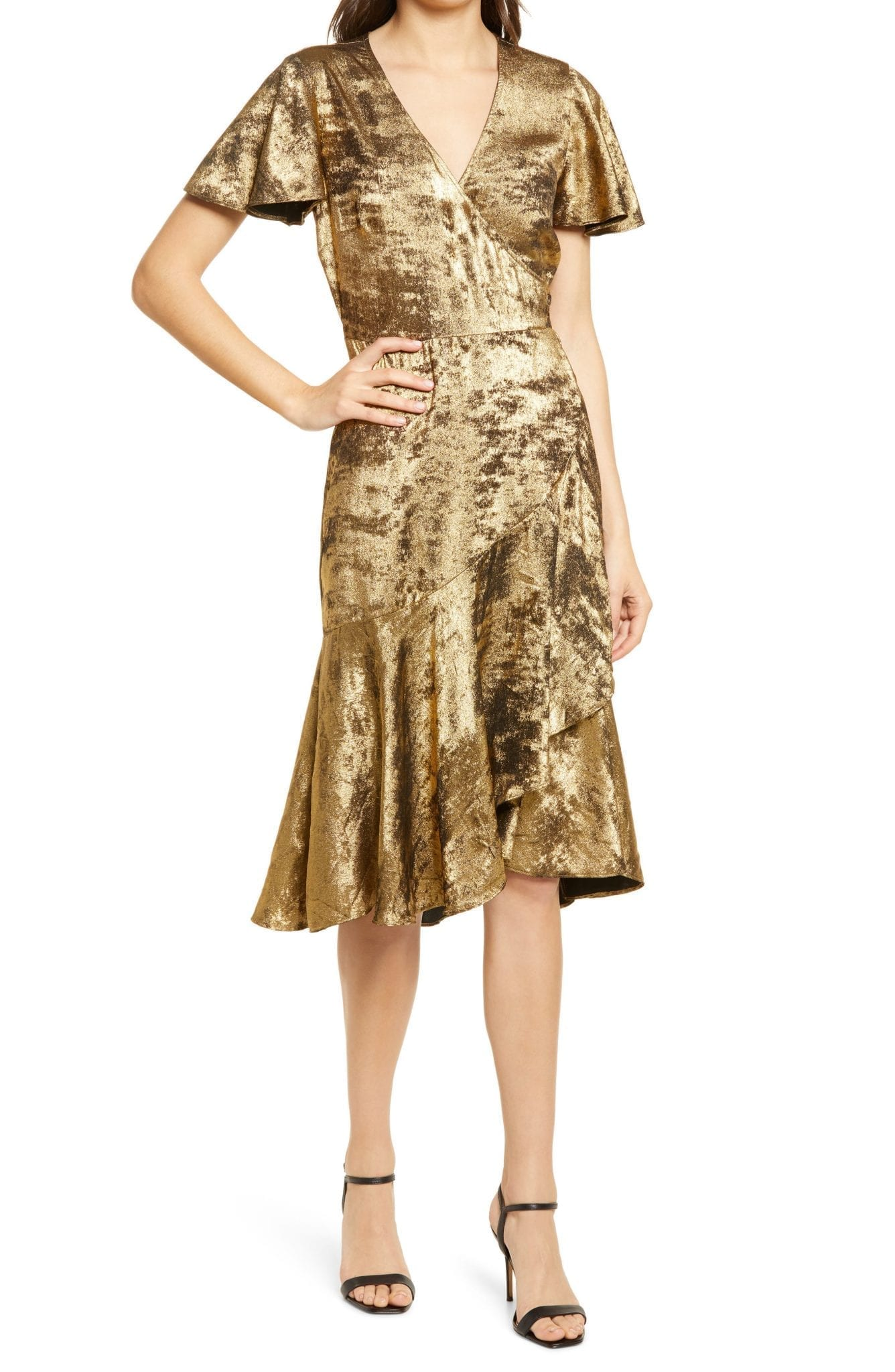 CHELSEA28 Metallic Crushed Velvet Ruffle Dress