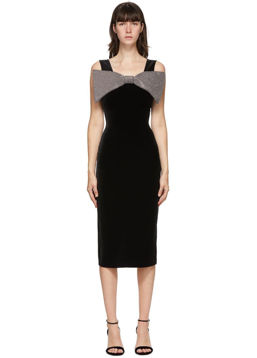 CHRISTOPHER KANE Black Velvet Bow Dress