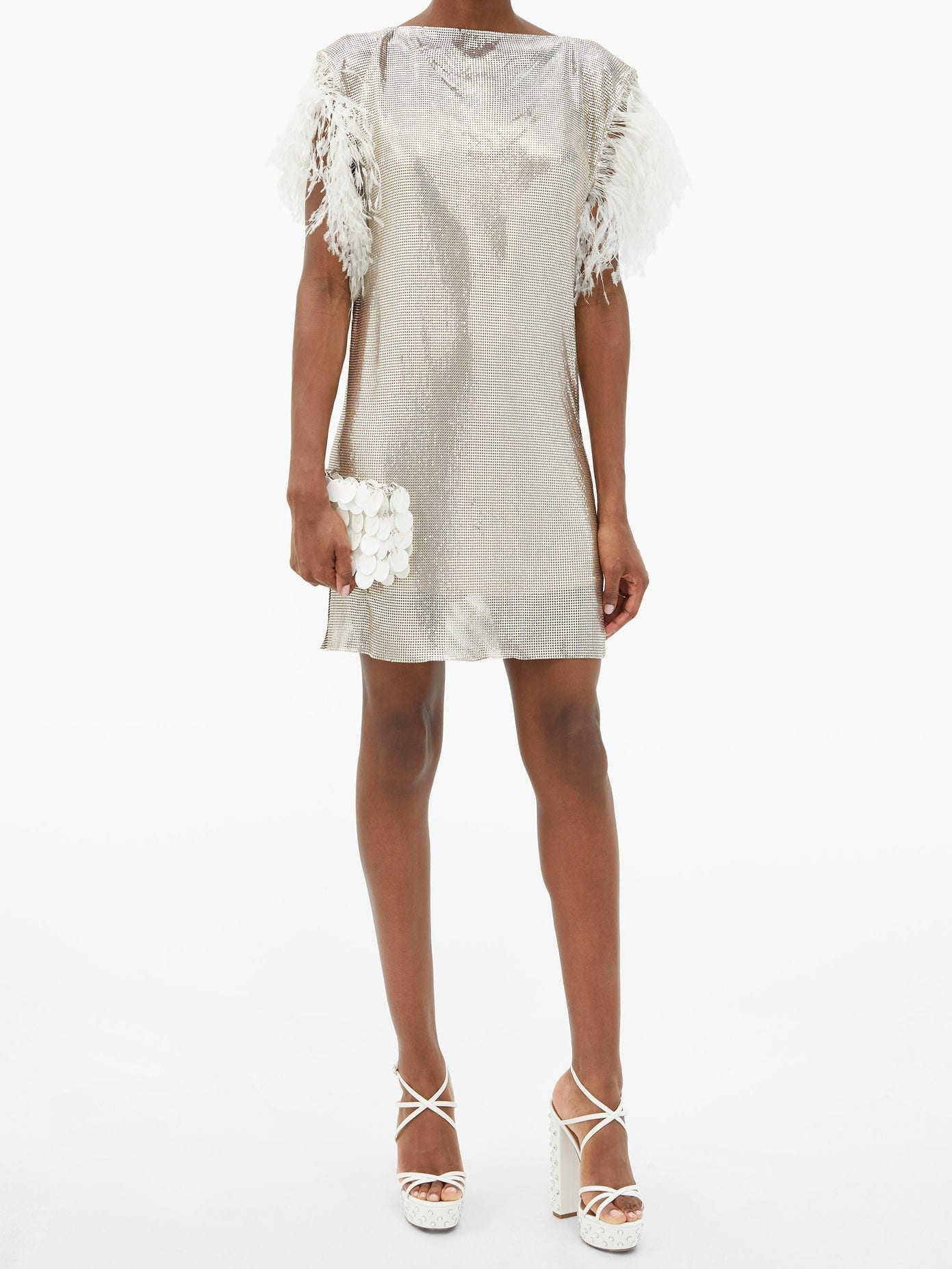 CHRISTOPHER KANE Feather-trim Chainmail Mini Dress