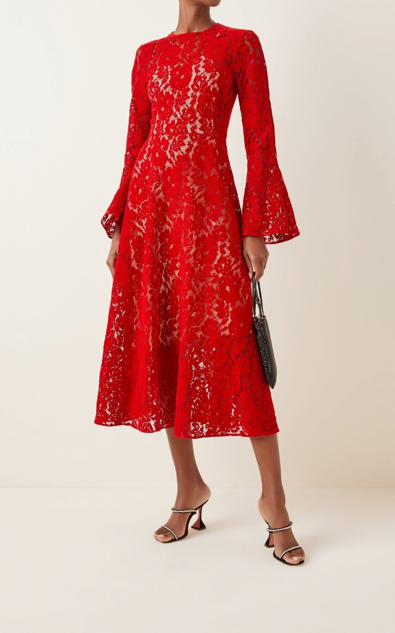 CHRISTOPHER KANE Flocked Lace Midi Dress