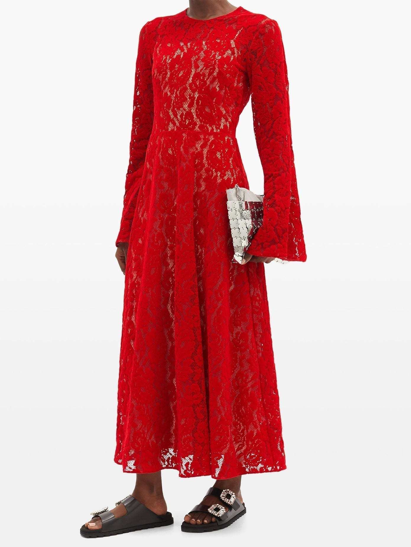 CHRISTOPHER KANE Fluted-sleeve Flocked-velvet Lace Dress