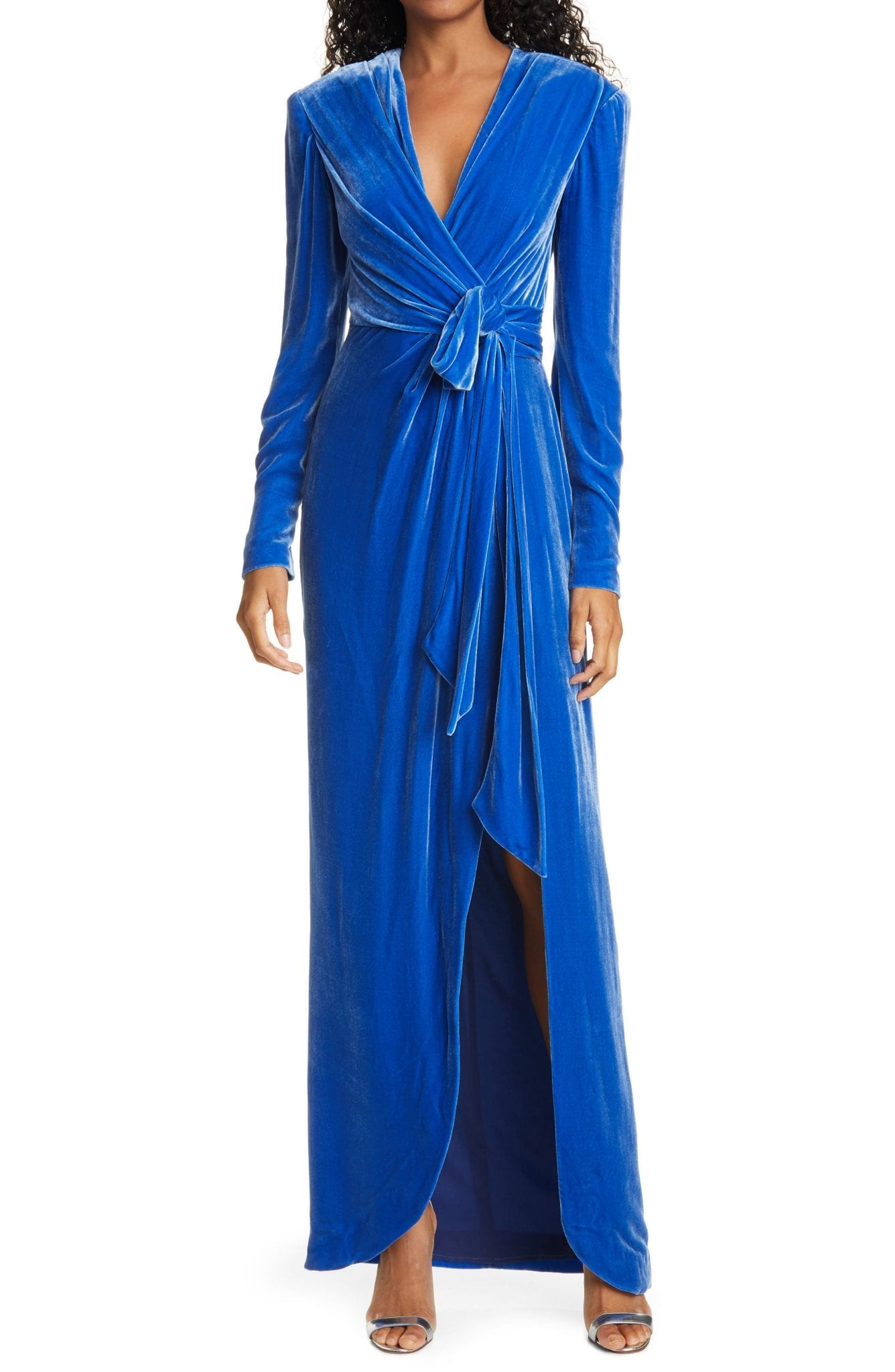 CINQ À SEPT Kiley Wrap Front Long Sleeve Velvet Gown