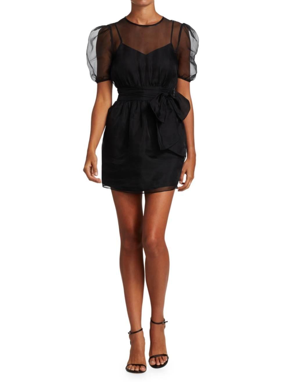 CINQ À SEPT Lexie Puff-Sleeve Silk Mini Dress