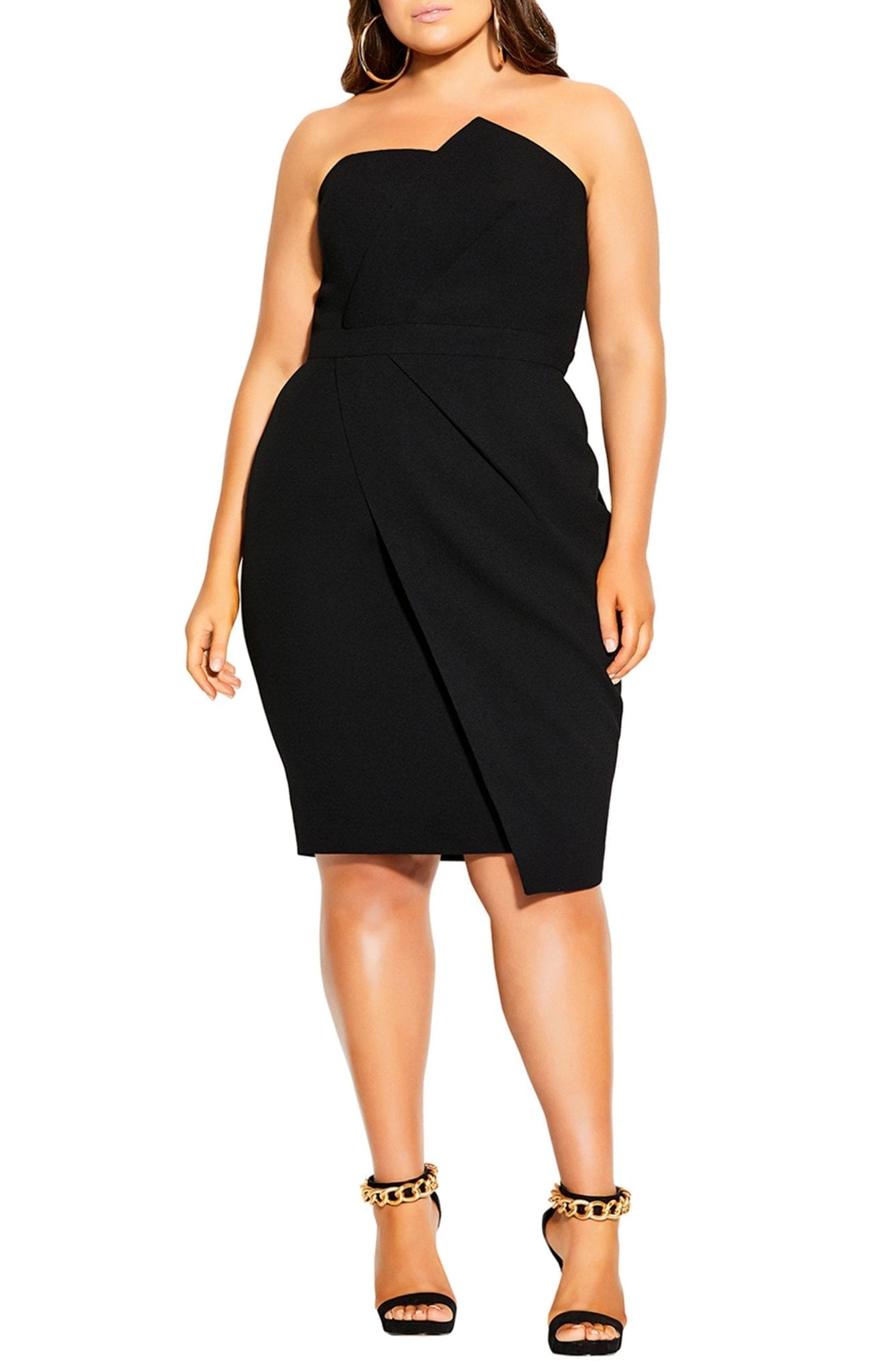 CITY CHIC Pleated Cocktail Dress