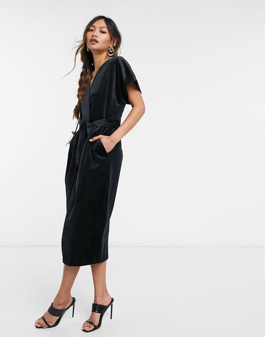 CLOSET London Kimono Sleeve Velvet Midi Dress