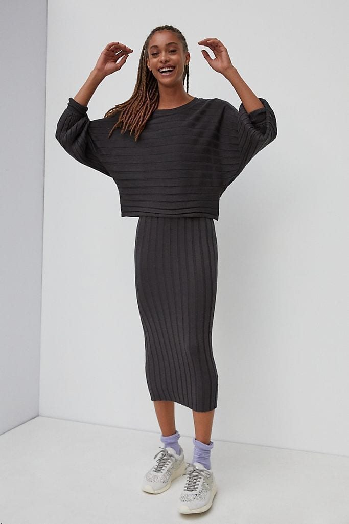 CURRENT AIR Clea Ribbed Midi Dress