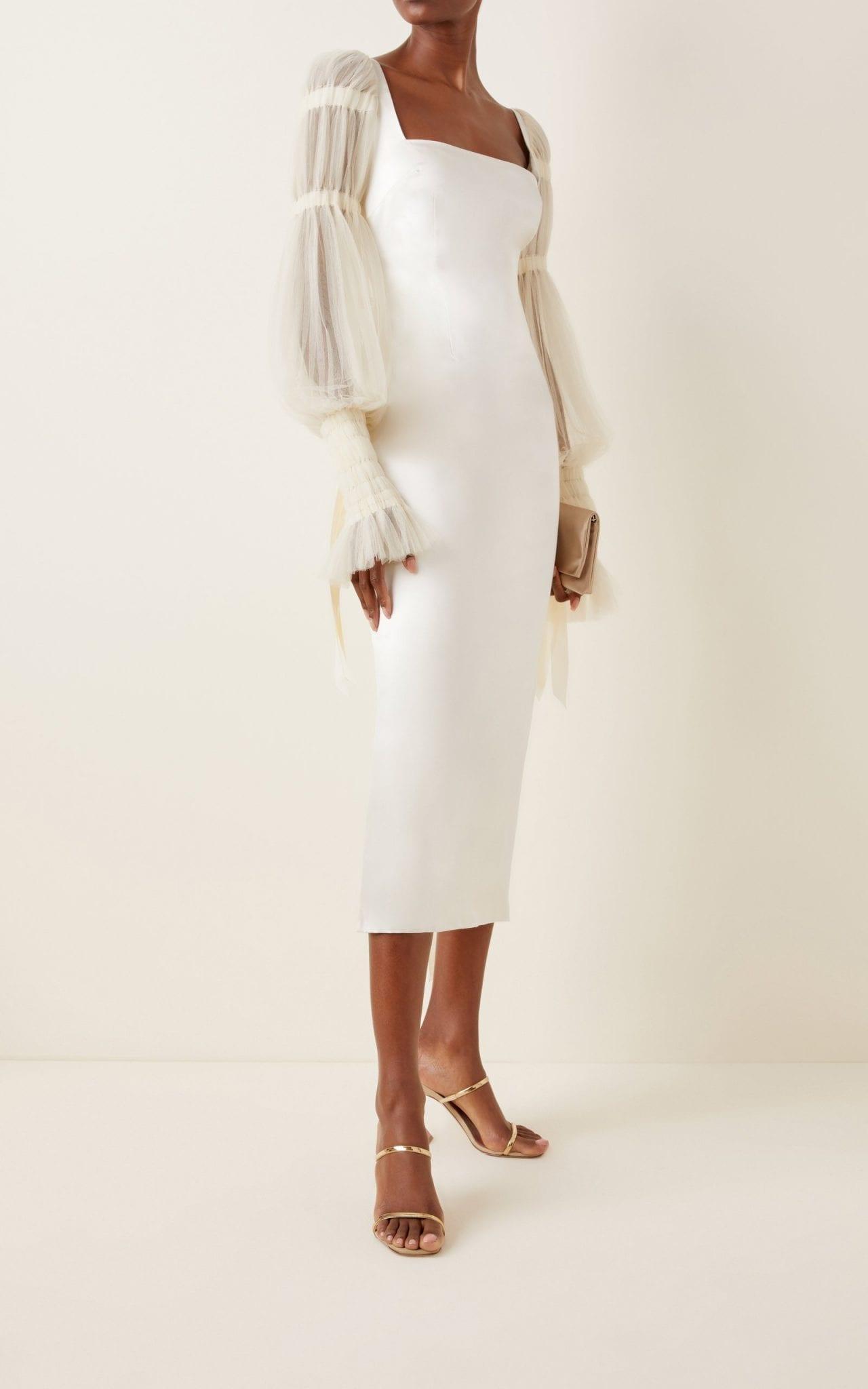 DANIELLE FRANKEL Ruby Tulle-Sleeve Wool-Silk Midi Dress