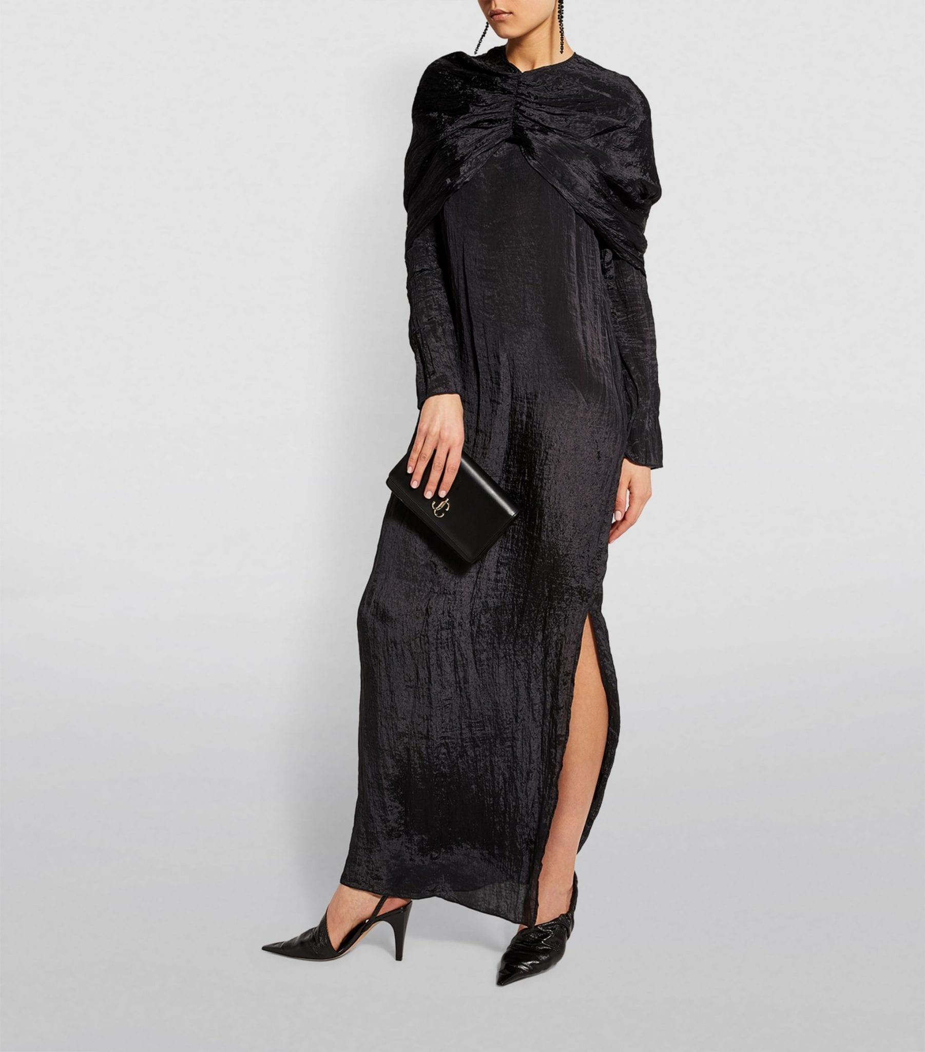 DEVEAUX Cape-Sleeved Emma Dress