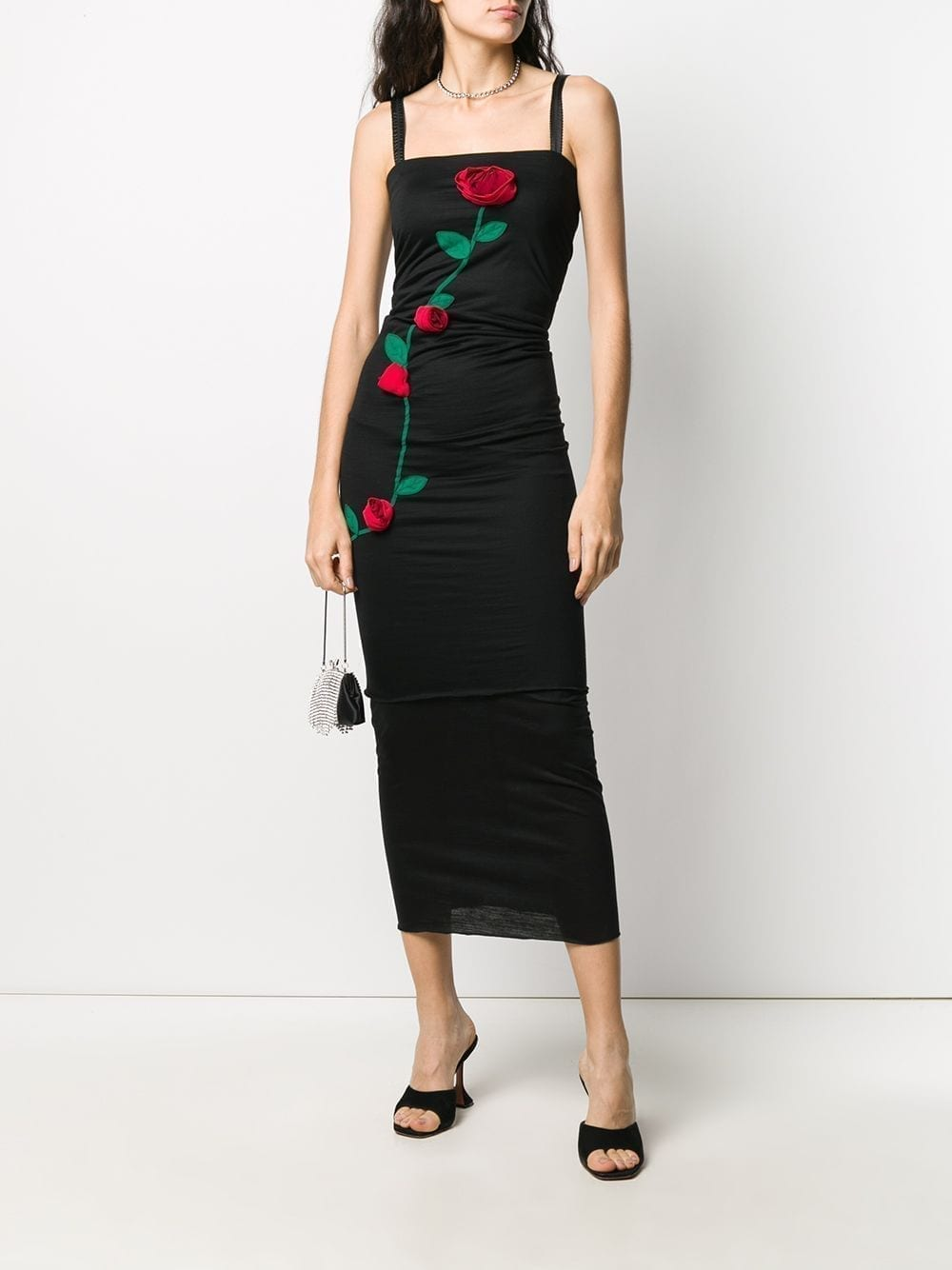 DOLCE & GABBANA Rose Applique Fitted Dress