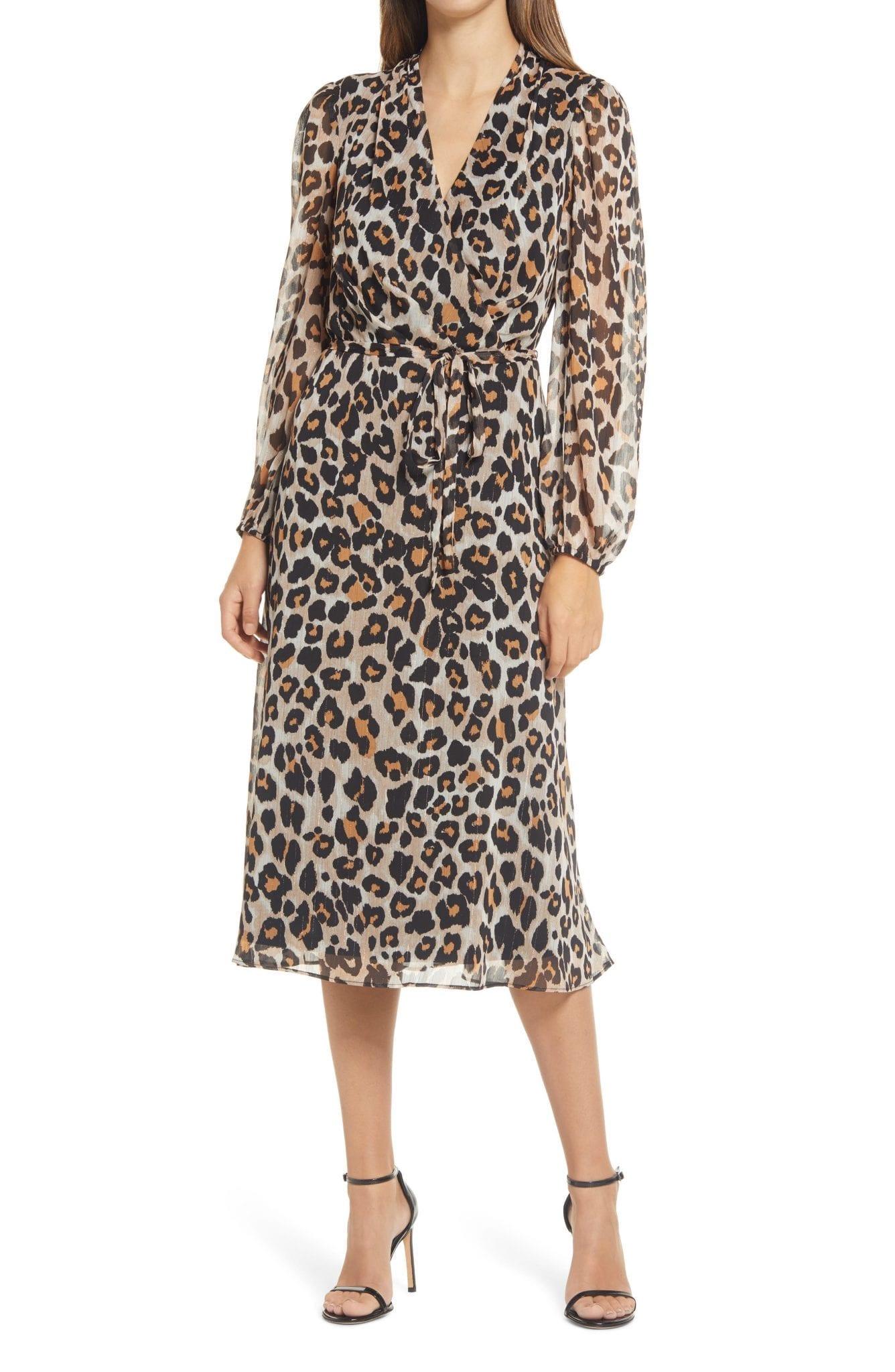 DONNA RICCO Leopard Faux Wrap Long Sleeve Dress