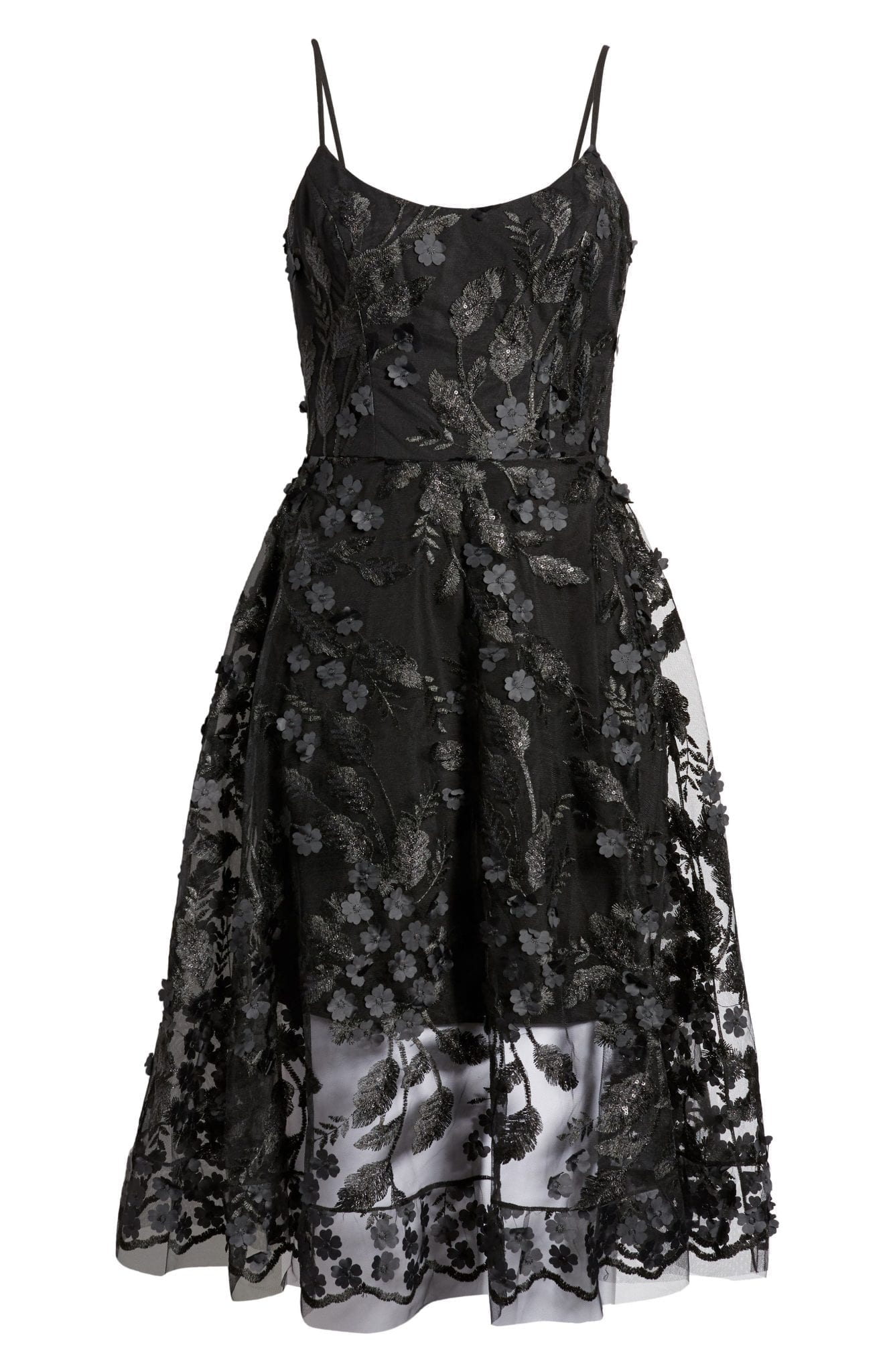 DRESS THE POPULATION 3D Lace Fit & Flare Dress