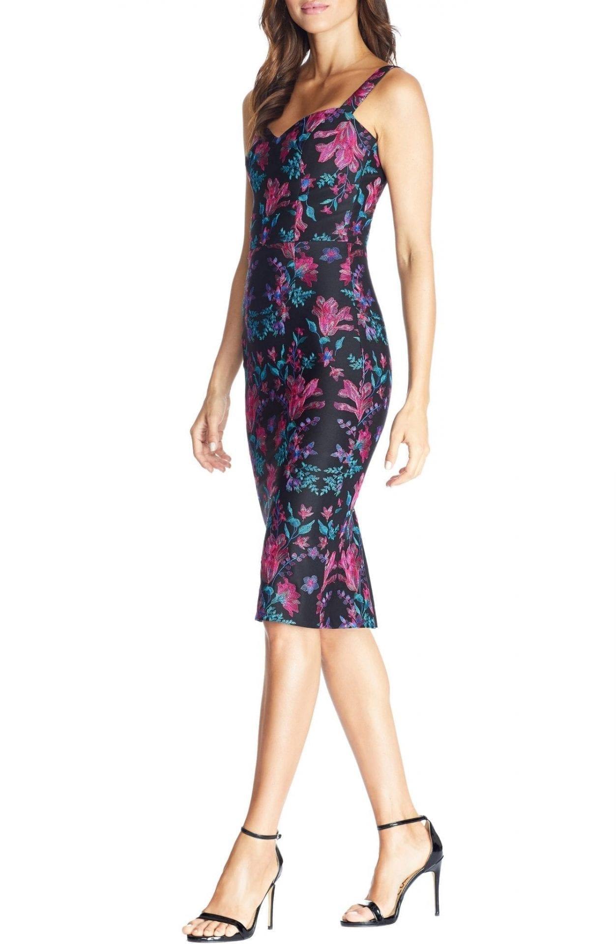 DRESS THE POPULATION Jaida Floral Embroidered Cocktail Dress