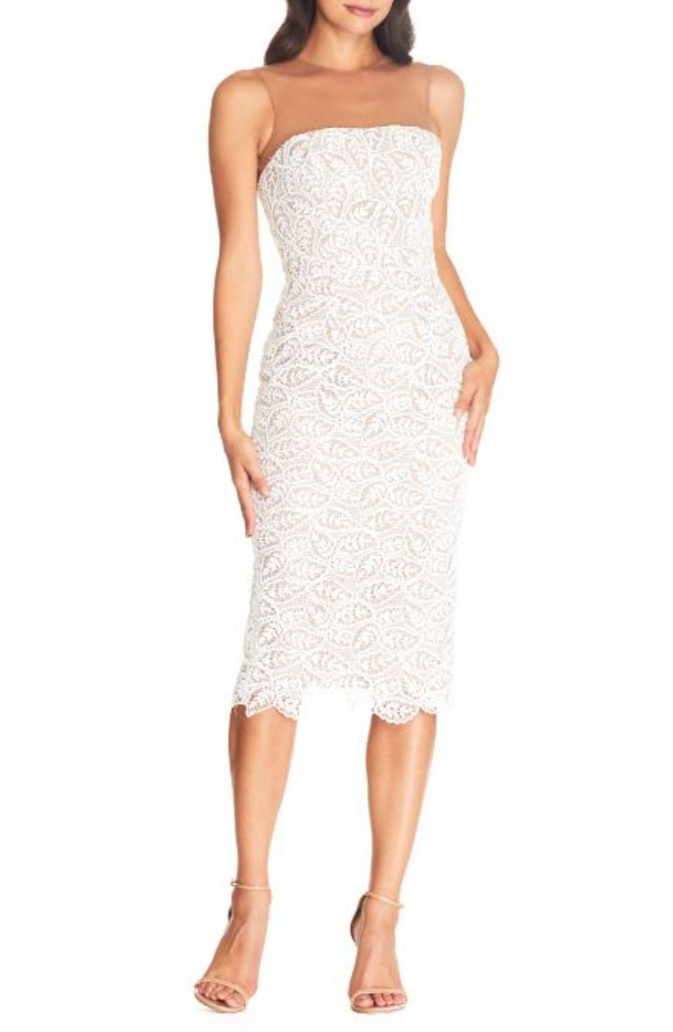 DRESS THE POPULATION Tegan Lace Strapless Bodycon Cocktail Dress
