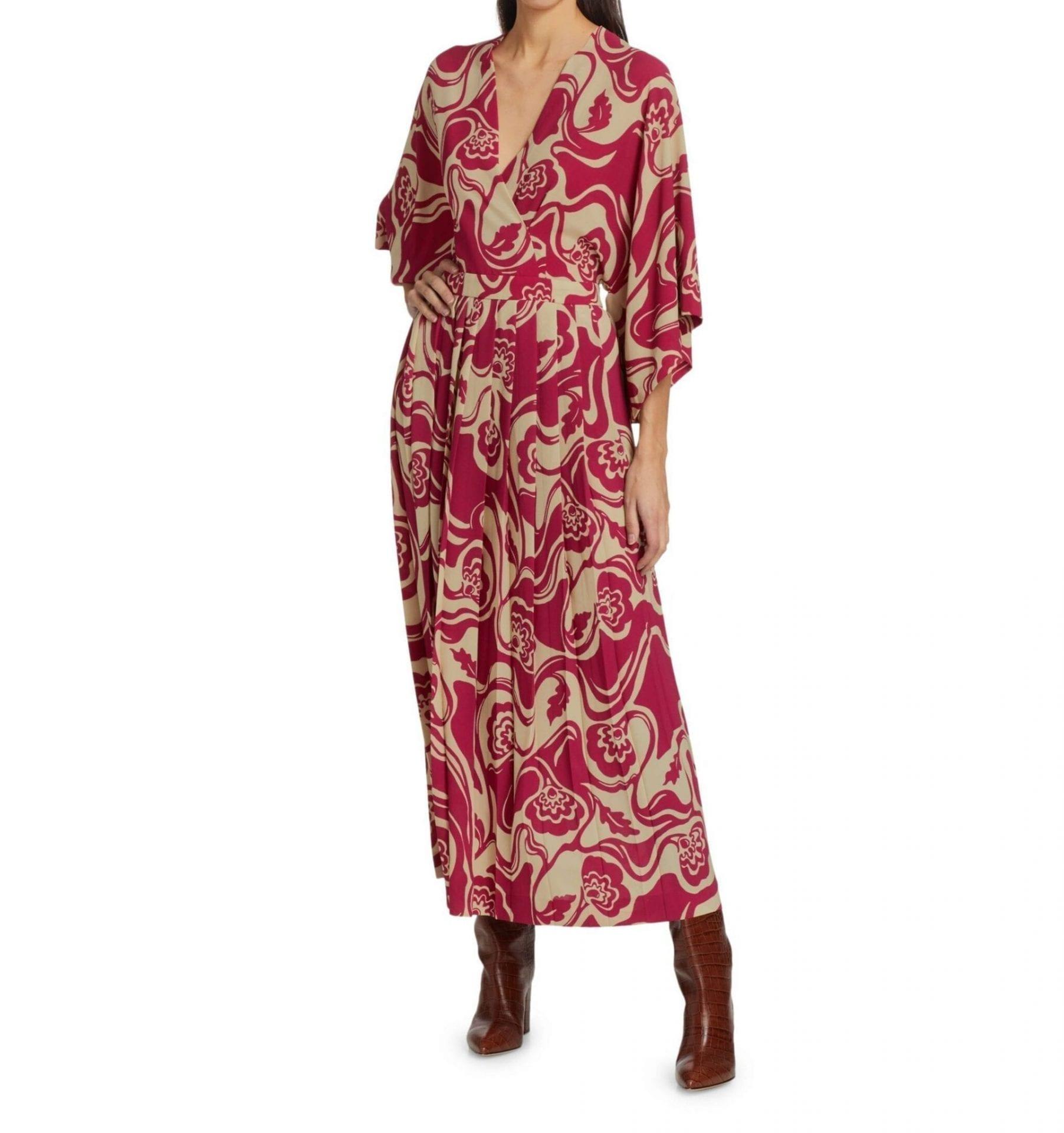 DRIES VAN NOTEN Printed Kimono-Sleeve Maxi Dress