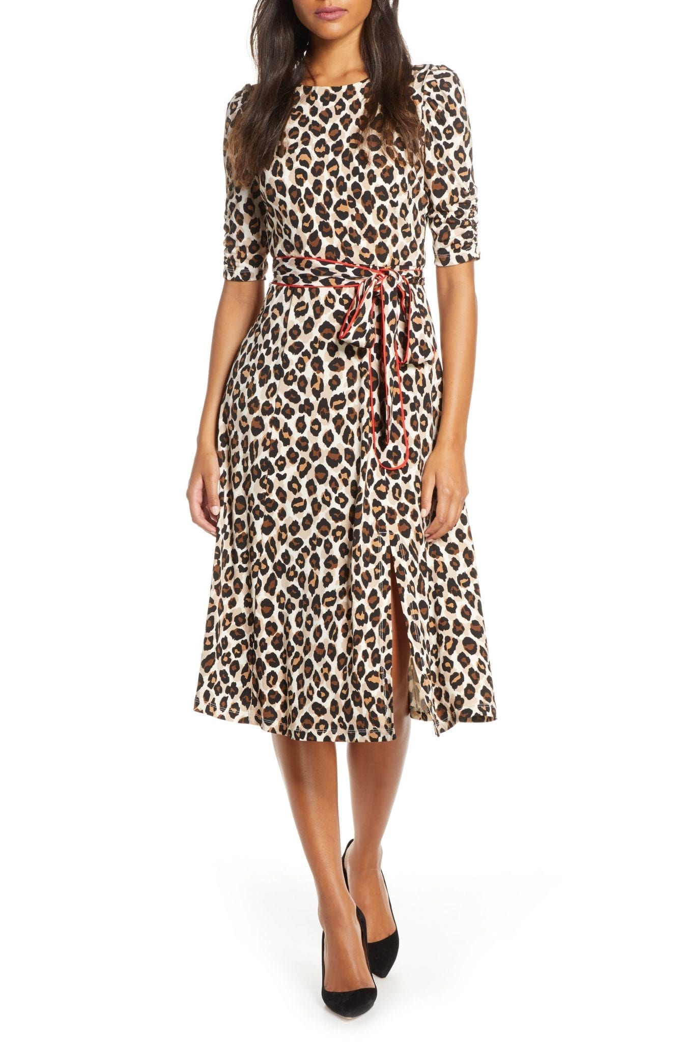 ELIZA J Leopard Print Piped Sash Midi Dress