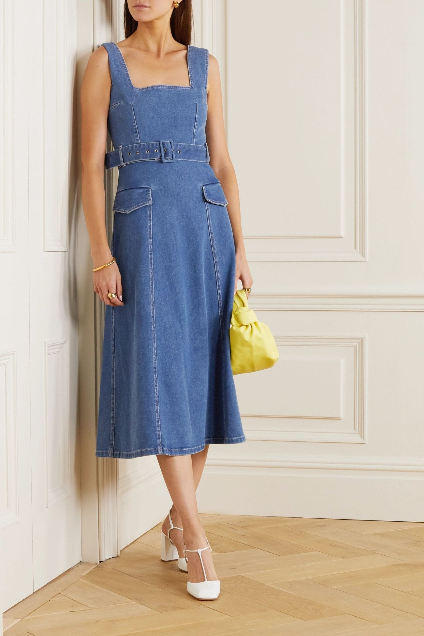 EMILIA WICKSTEAD Petra Belted Stretch-denim Midi Dress