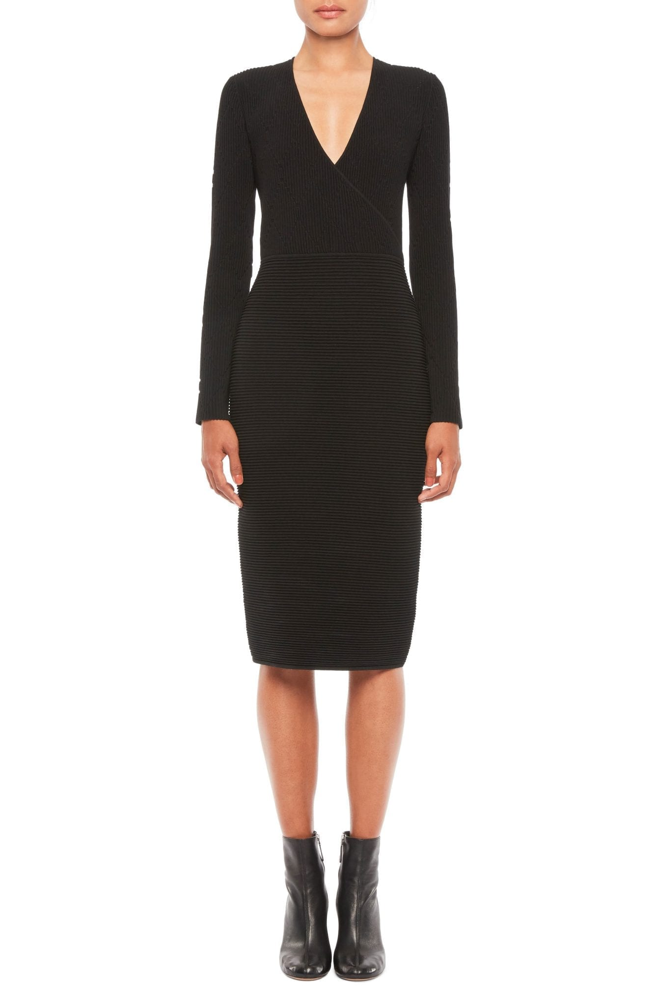 EMPORIO ARMANI Ottoman Stitch Long Sleeve Wool Dress