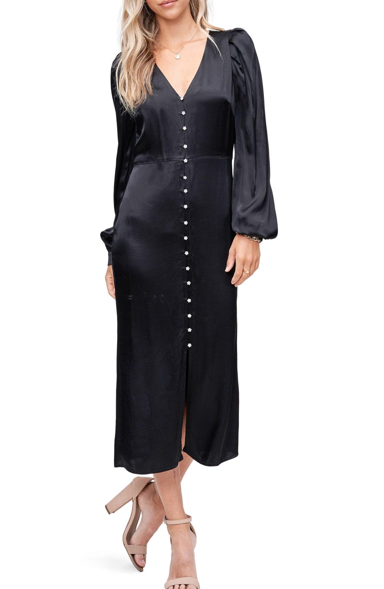 EN SAISON Long Sleeve Satin Midi Dress