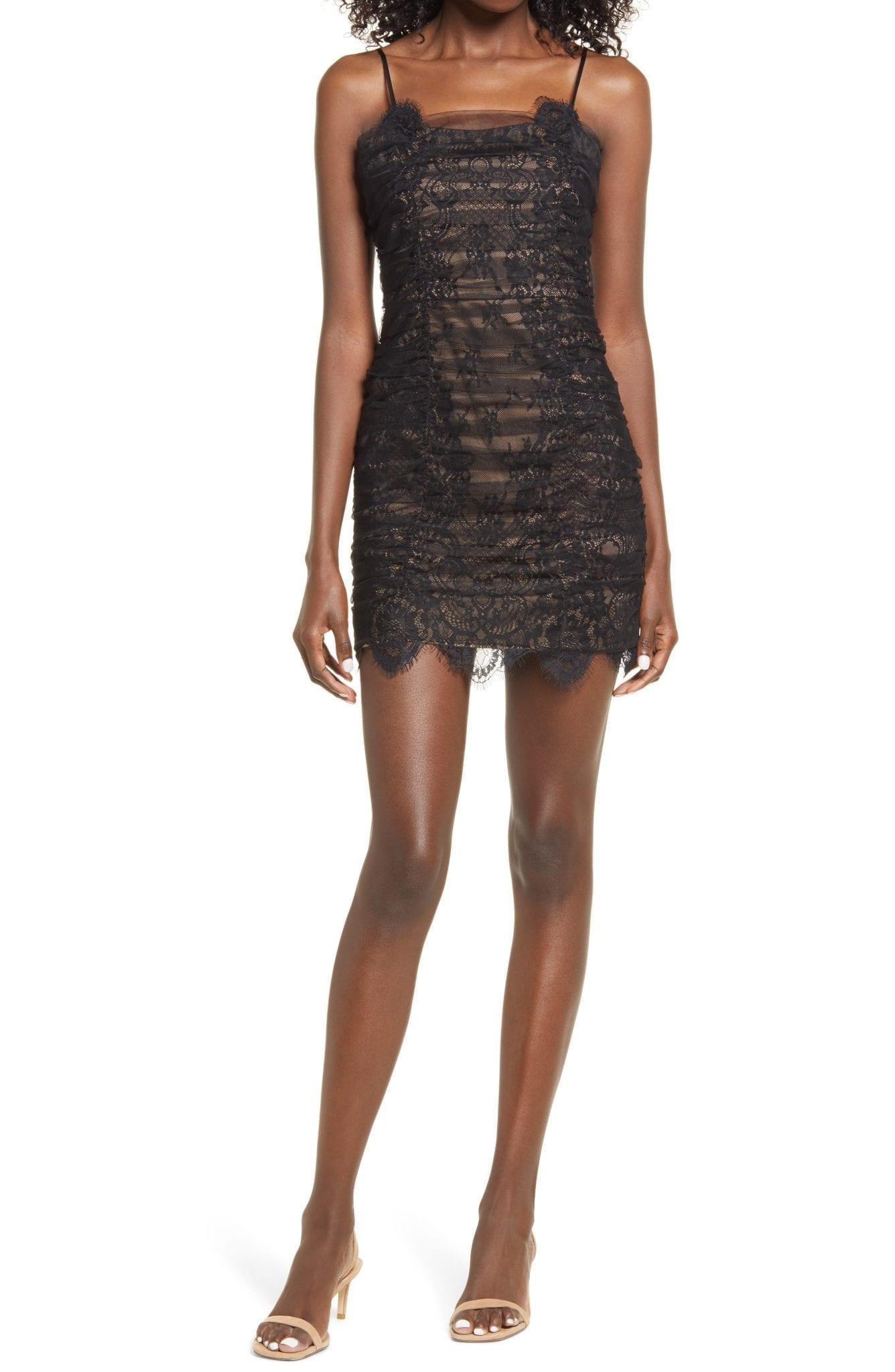 ENDLESS ROSE Lace Body-Con Mini Dress