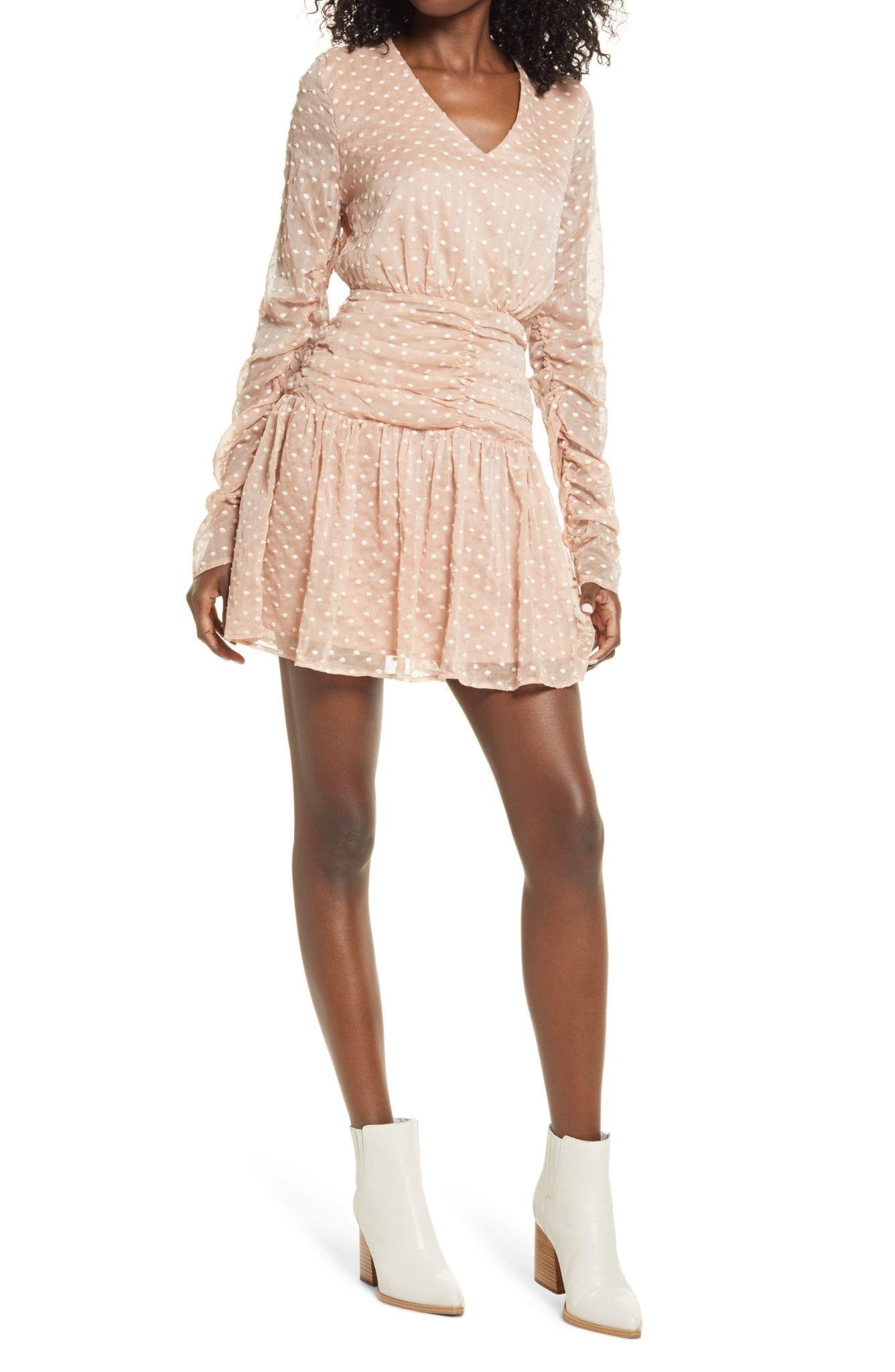 ENDLESS ROSE Polka Dot Long Sleeve Mesh Dress