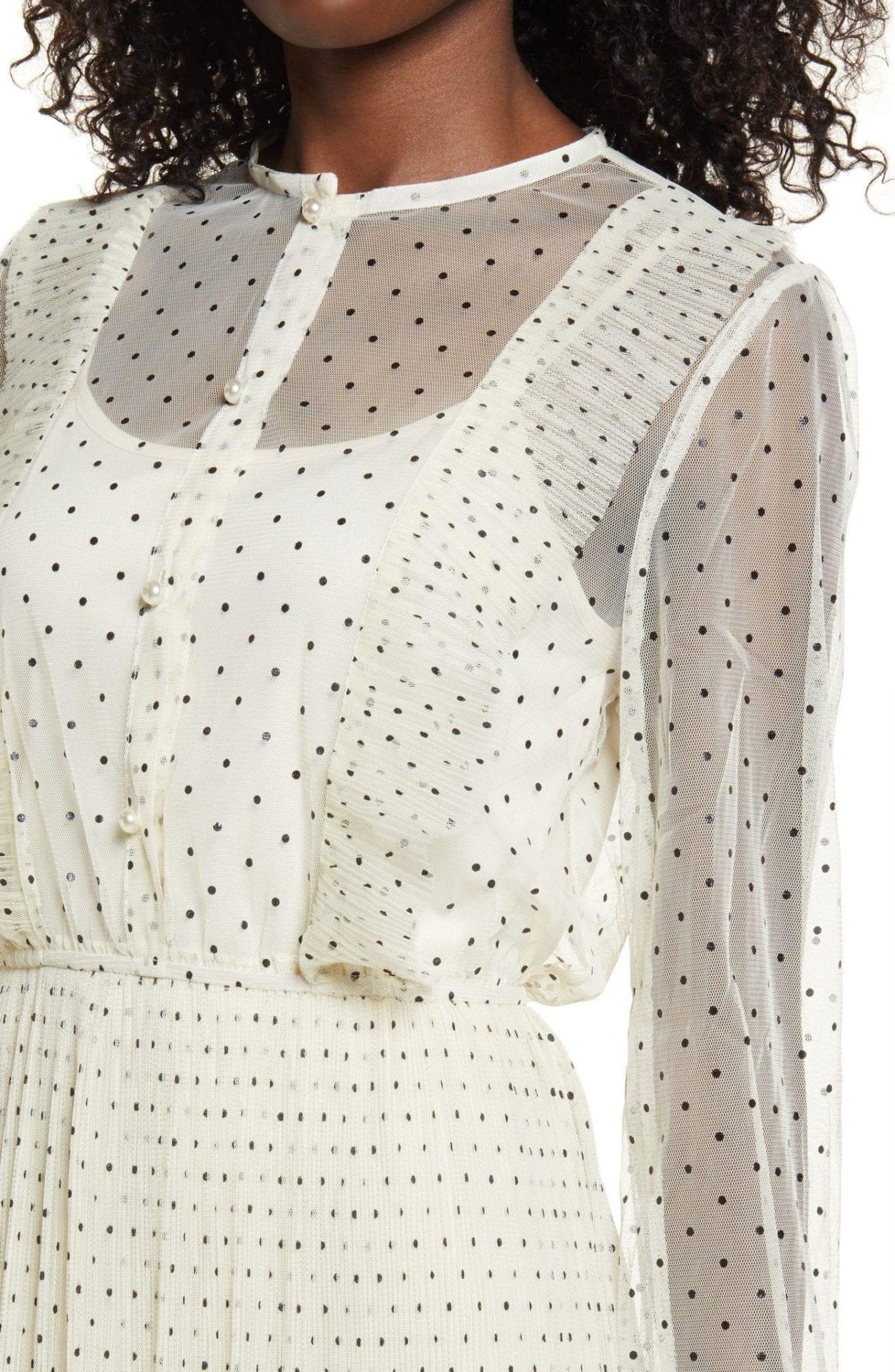ENDLESS ROSE Polka Dot Long Sleeve Ruffle Mesh Midi Dress