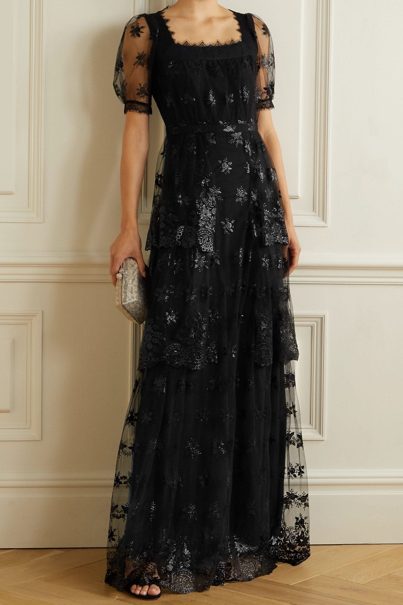 ERDEM Ashby Tiered Lace-trimmed Embroidered Tulle Gown