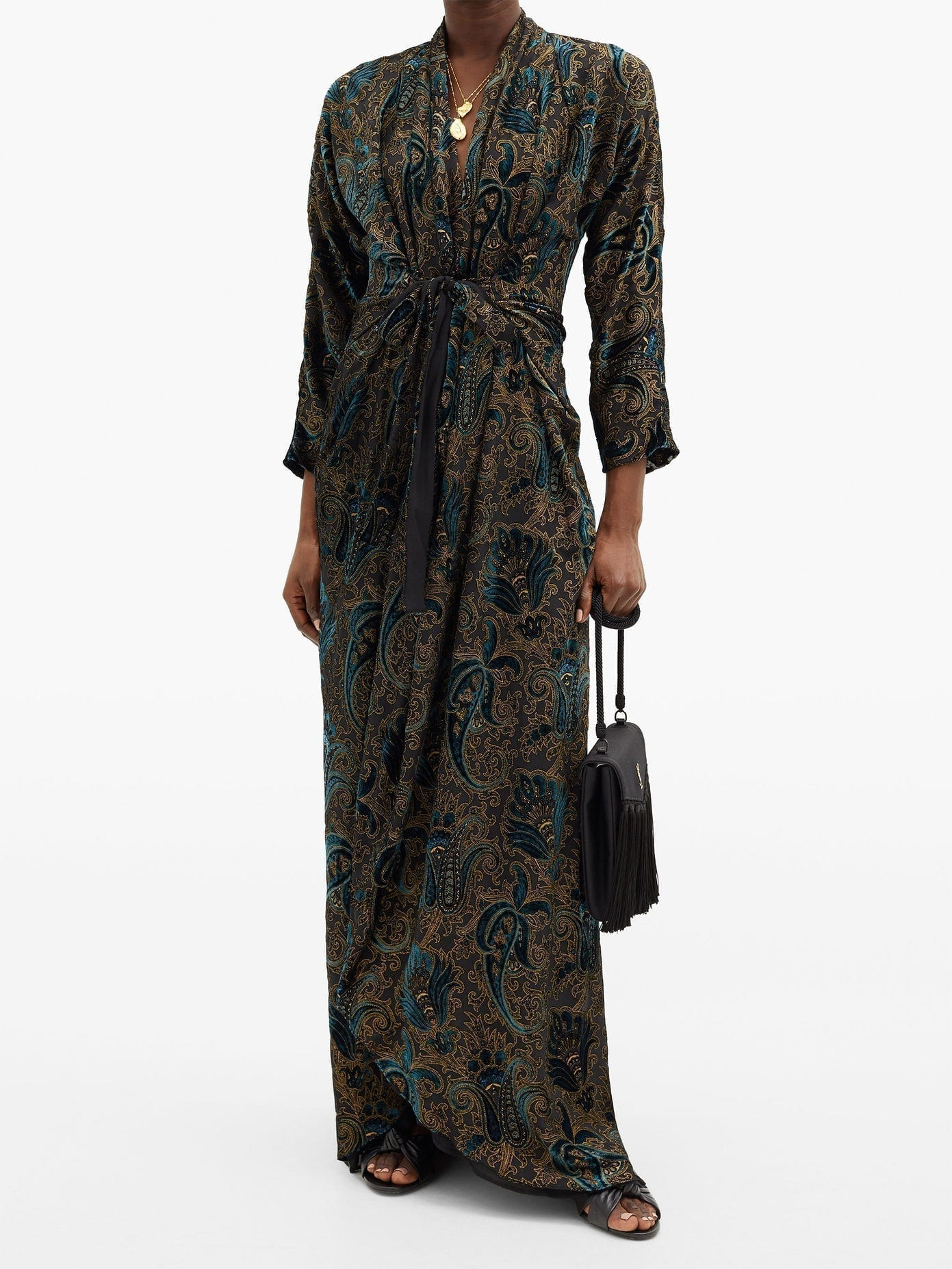ETRO Gathered Paisley-velvet Devoré Maxi Dress
