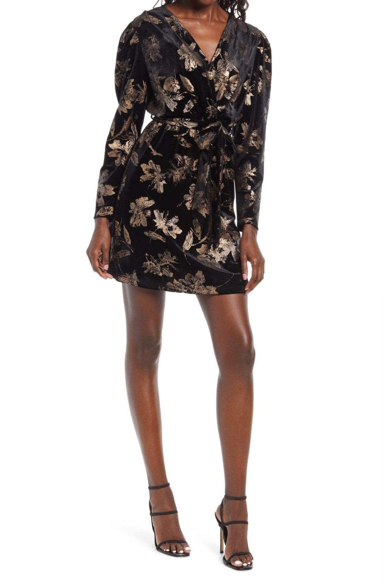 FRAICHE BY J Floral Print Long Sleeve Faux Wrap Mini Dress
