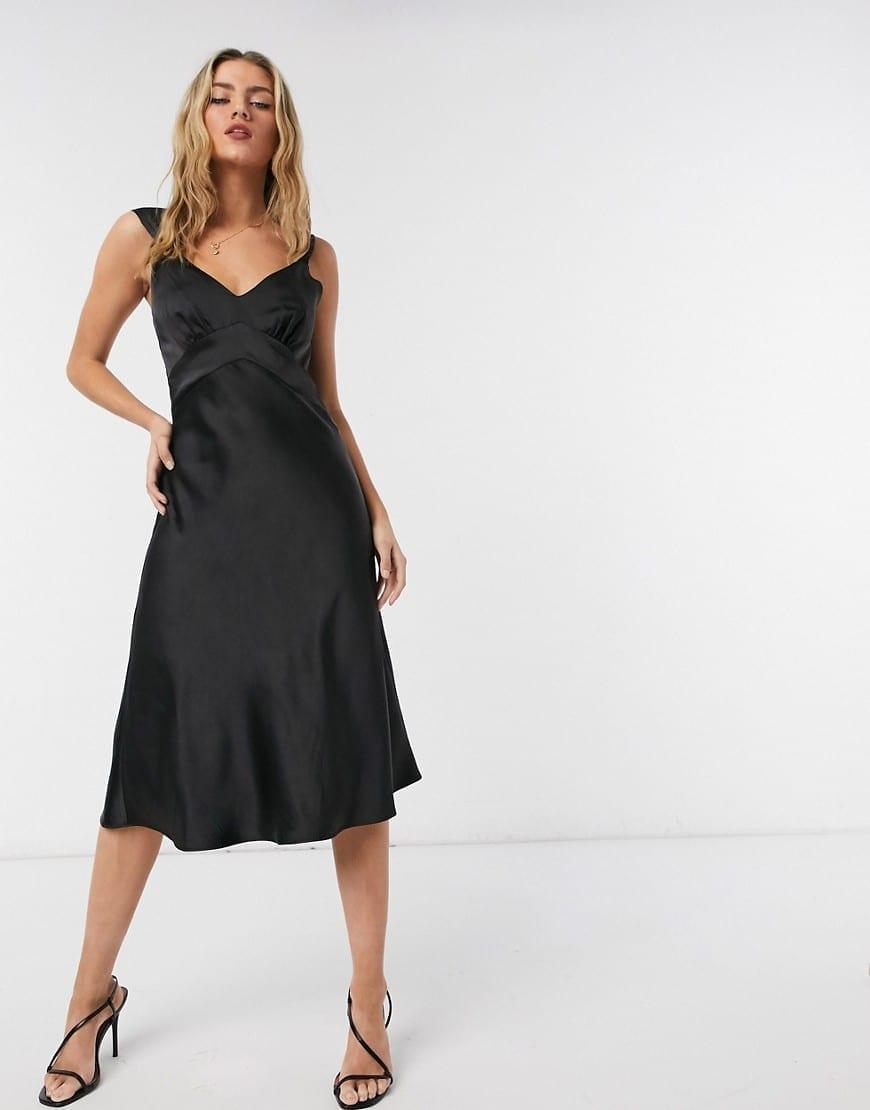 FRENCH CONNECTION Satin Slip Midi Dress